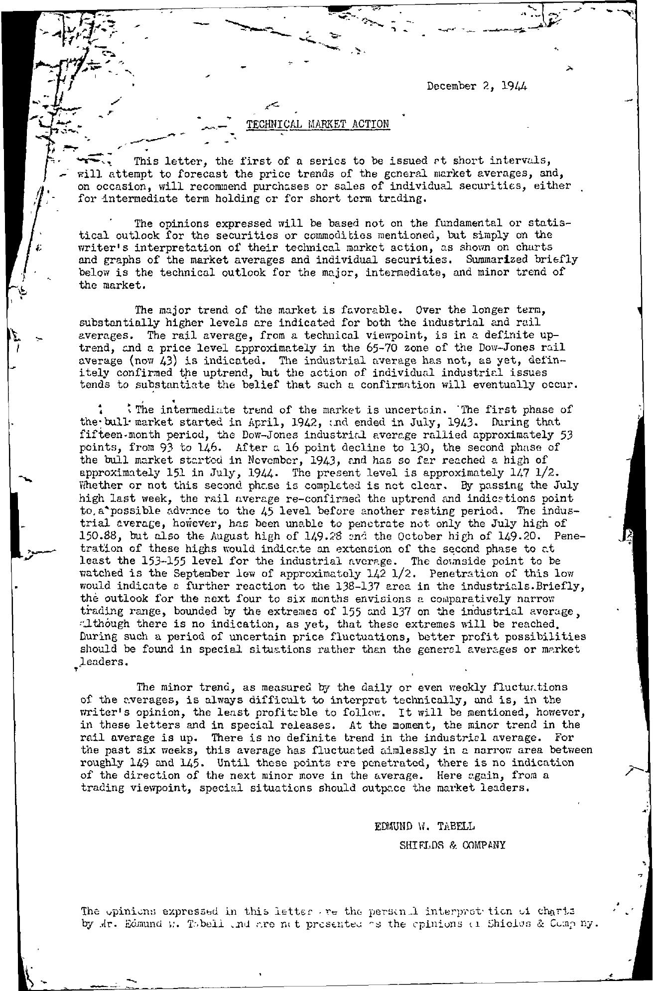 Tabell's Market Letter - December 02, 1944