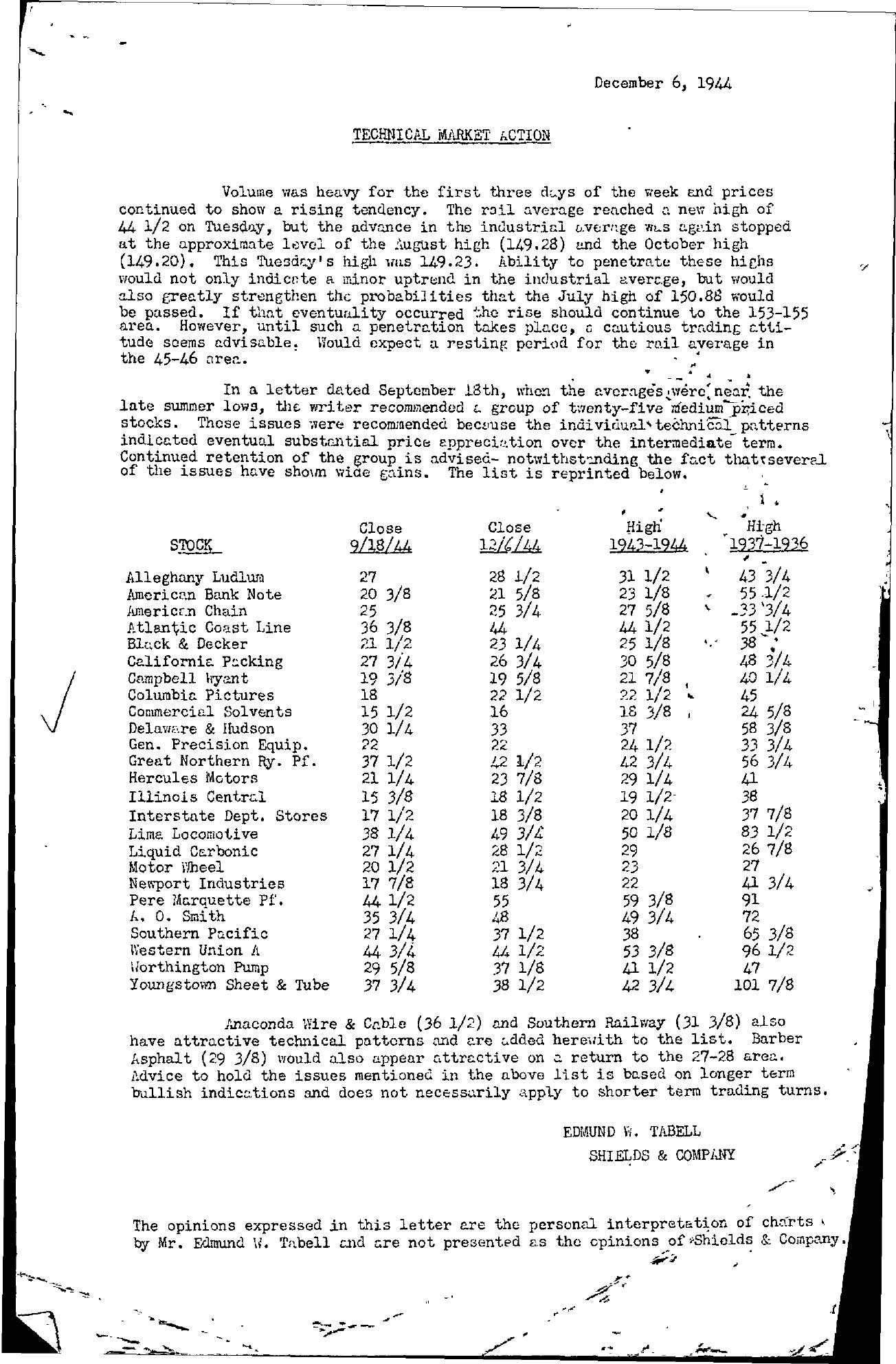 Tabell's Market Letter - December 06, 1944