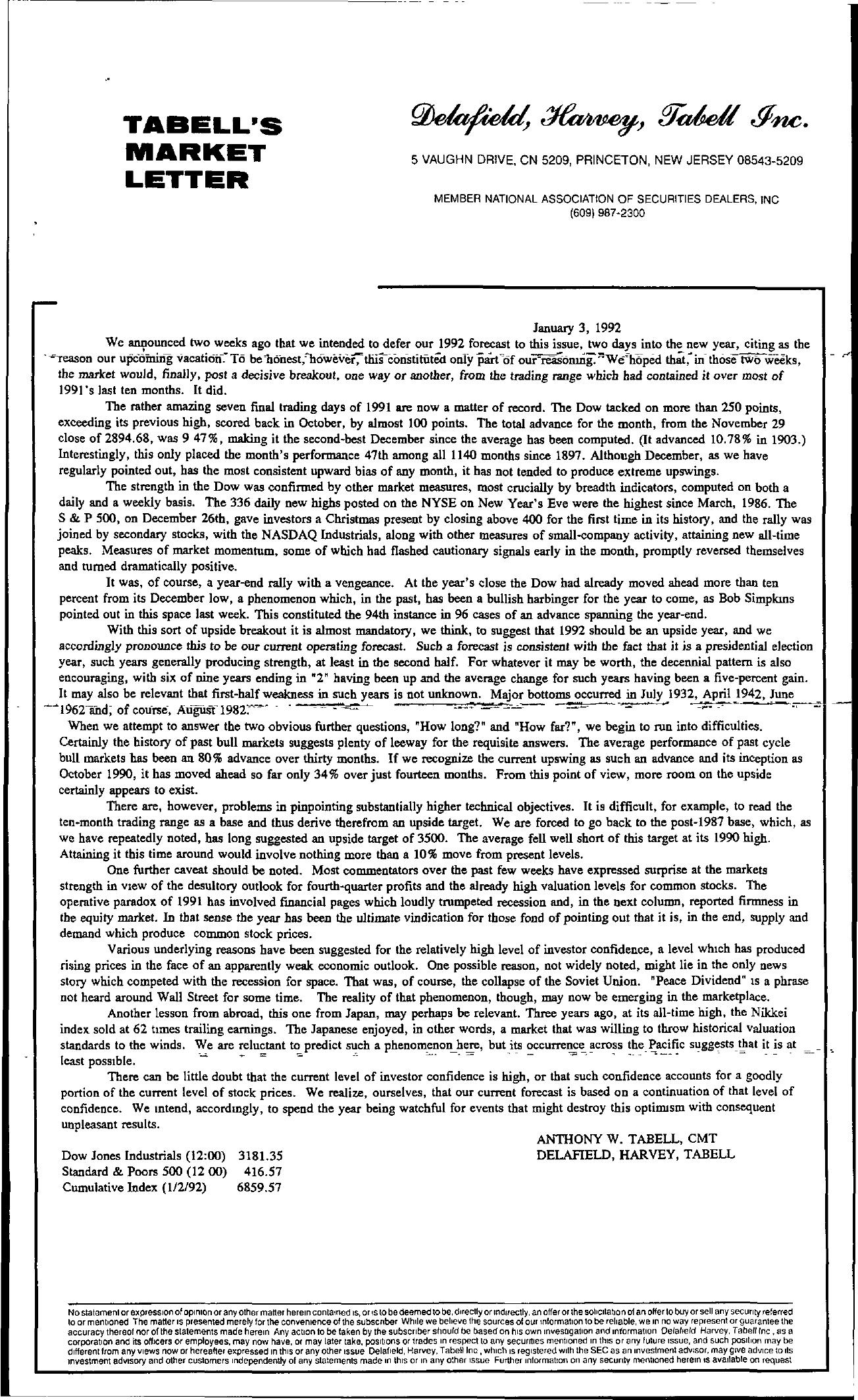 Tabell's Market Letter - January 03, 1992