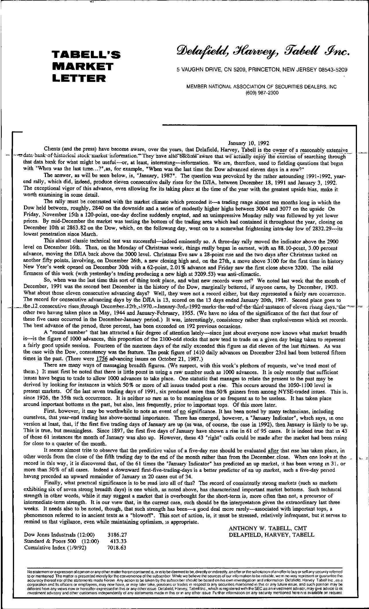 Tabell's Market Letter - January 10, 1992
