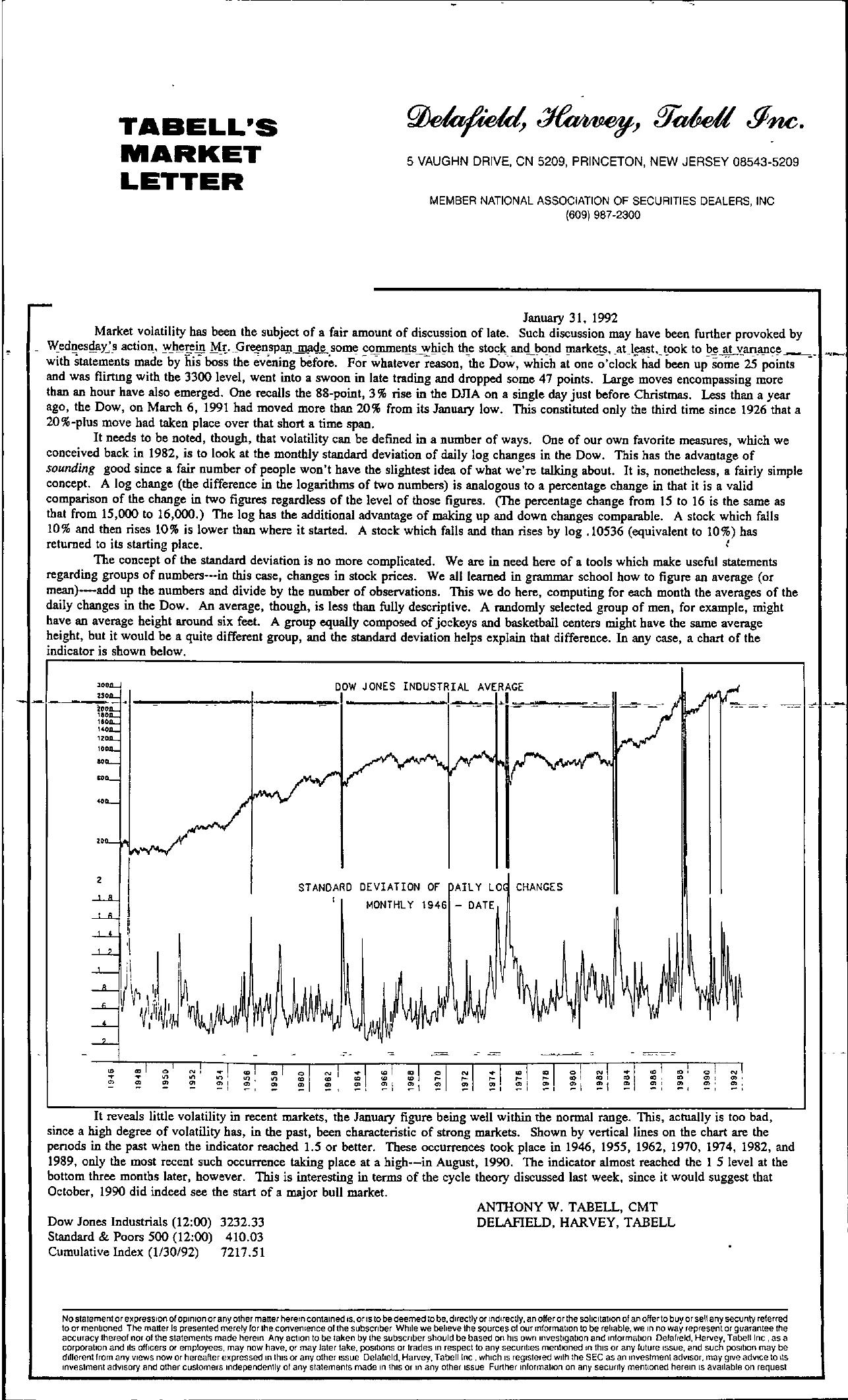 Tabell's Market Letter - January 31, 1992