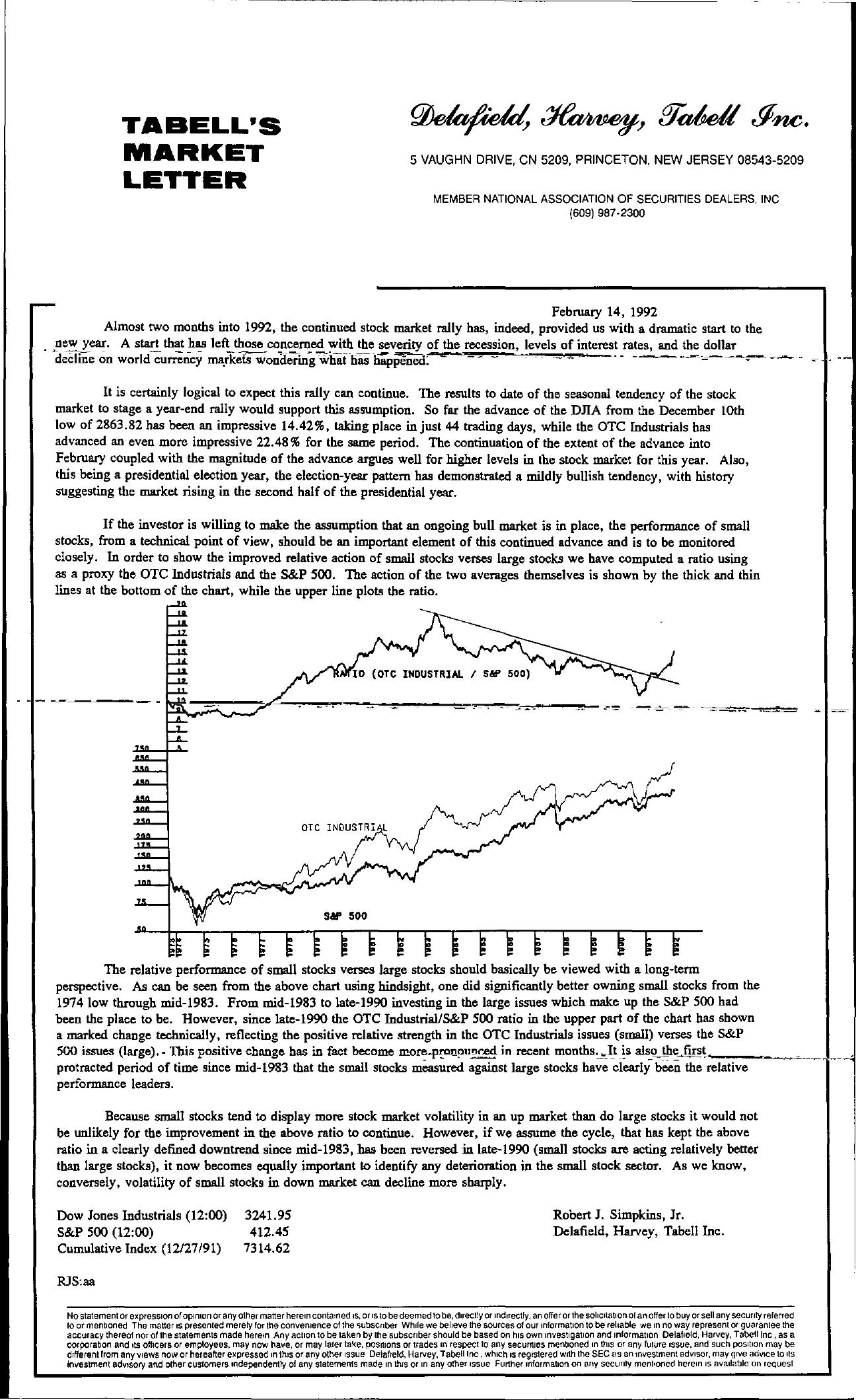 Tabell's Market Letter - February 14, 1992