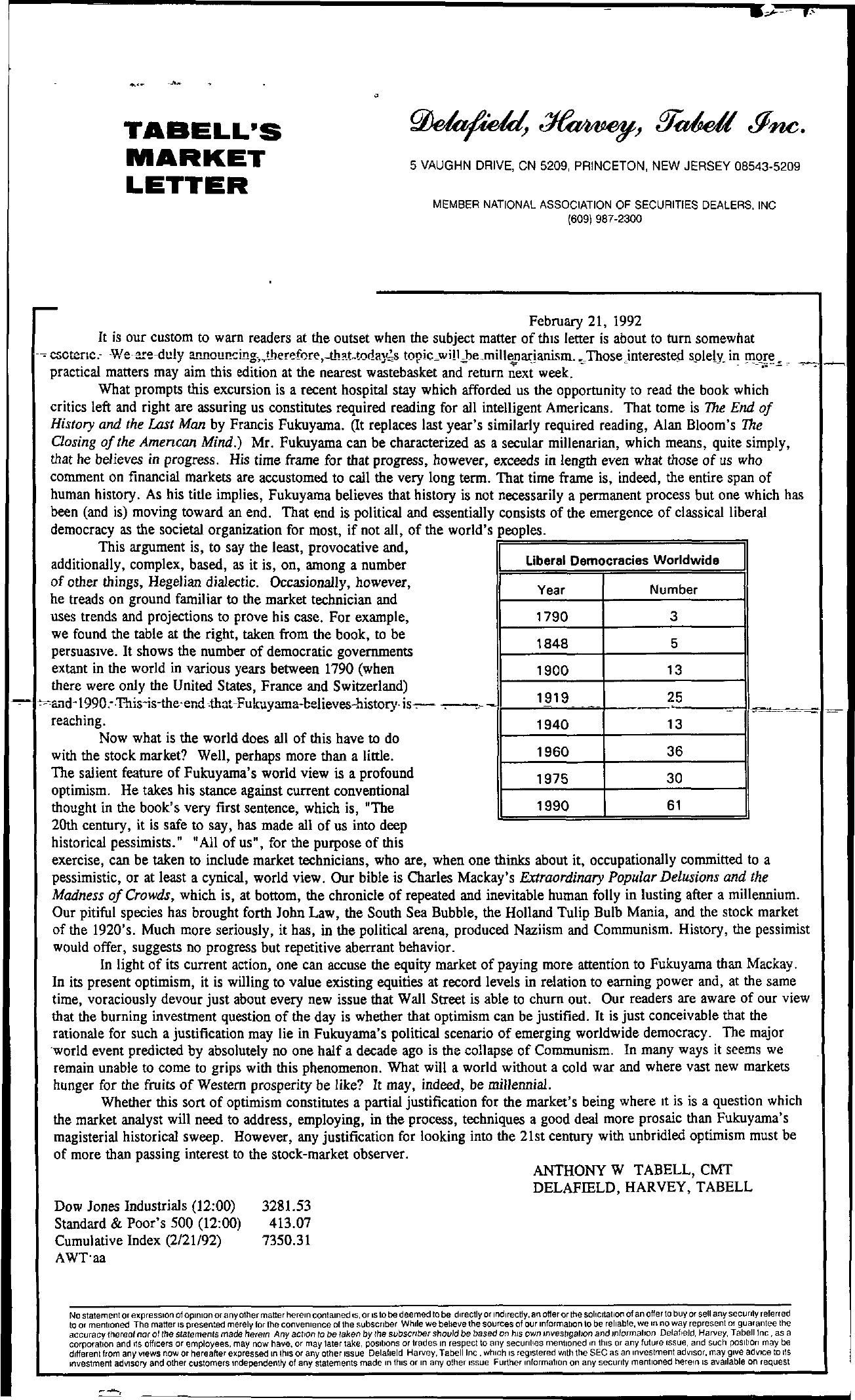 Tabell's Market Letter - February 21, 1992