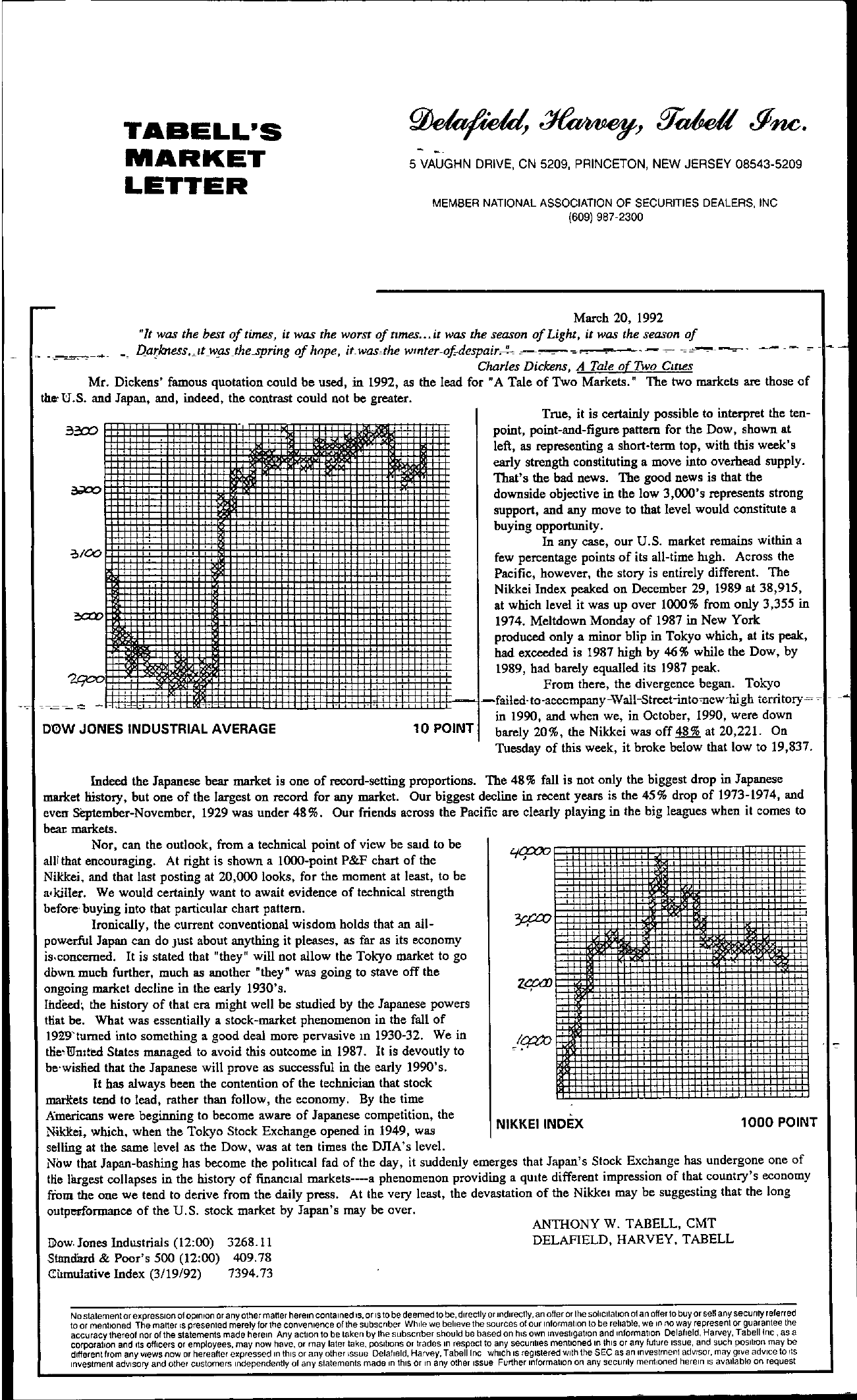 Tabell's Market Letter - March 20, 1992
