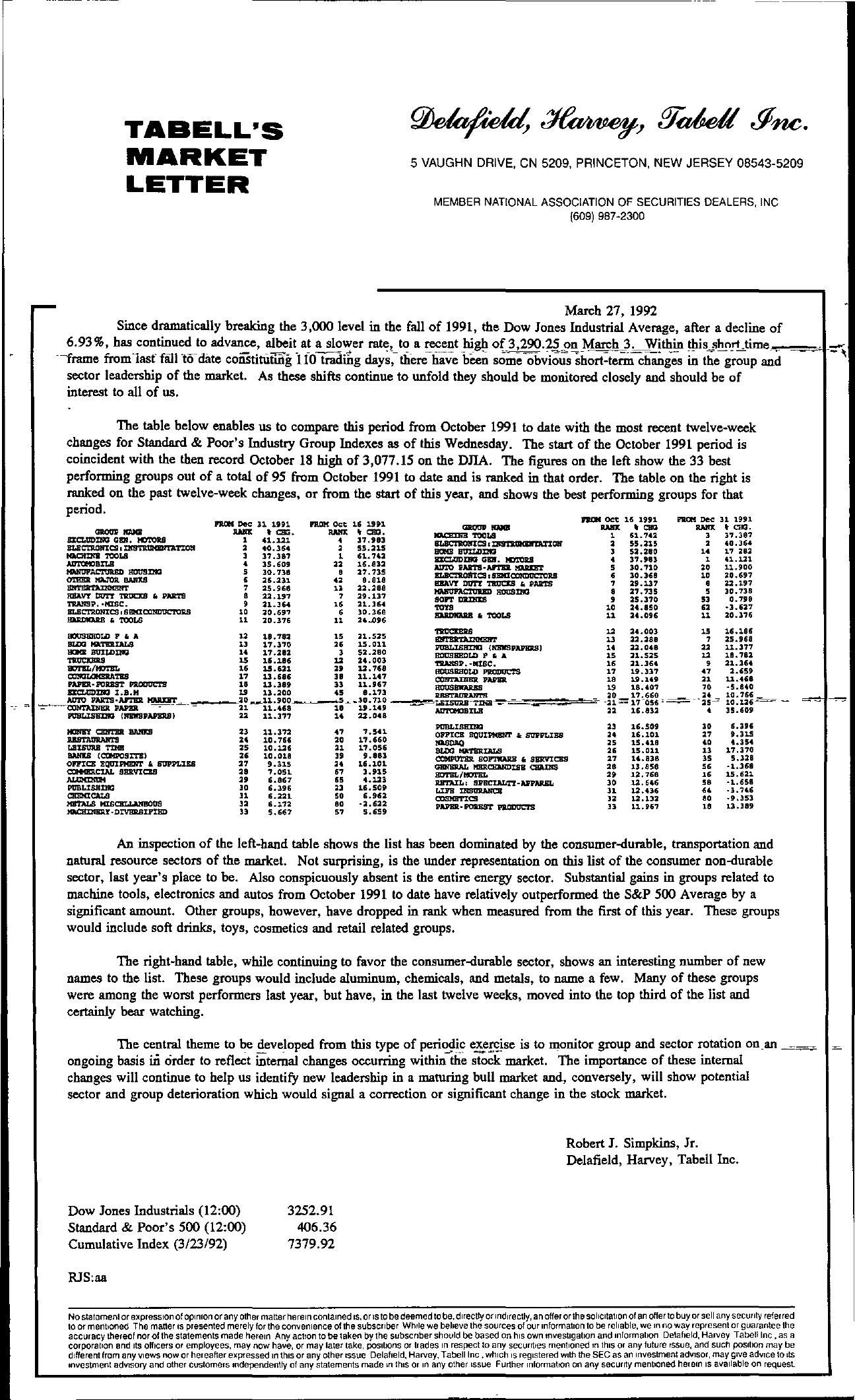 Tabell's Market Letter - March 27, 1992