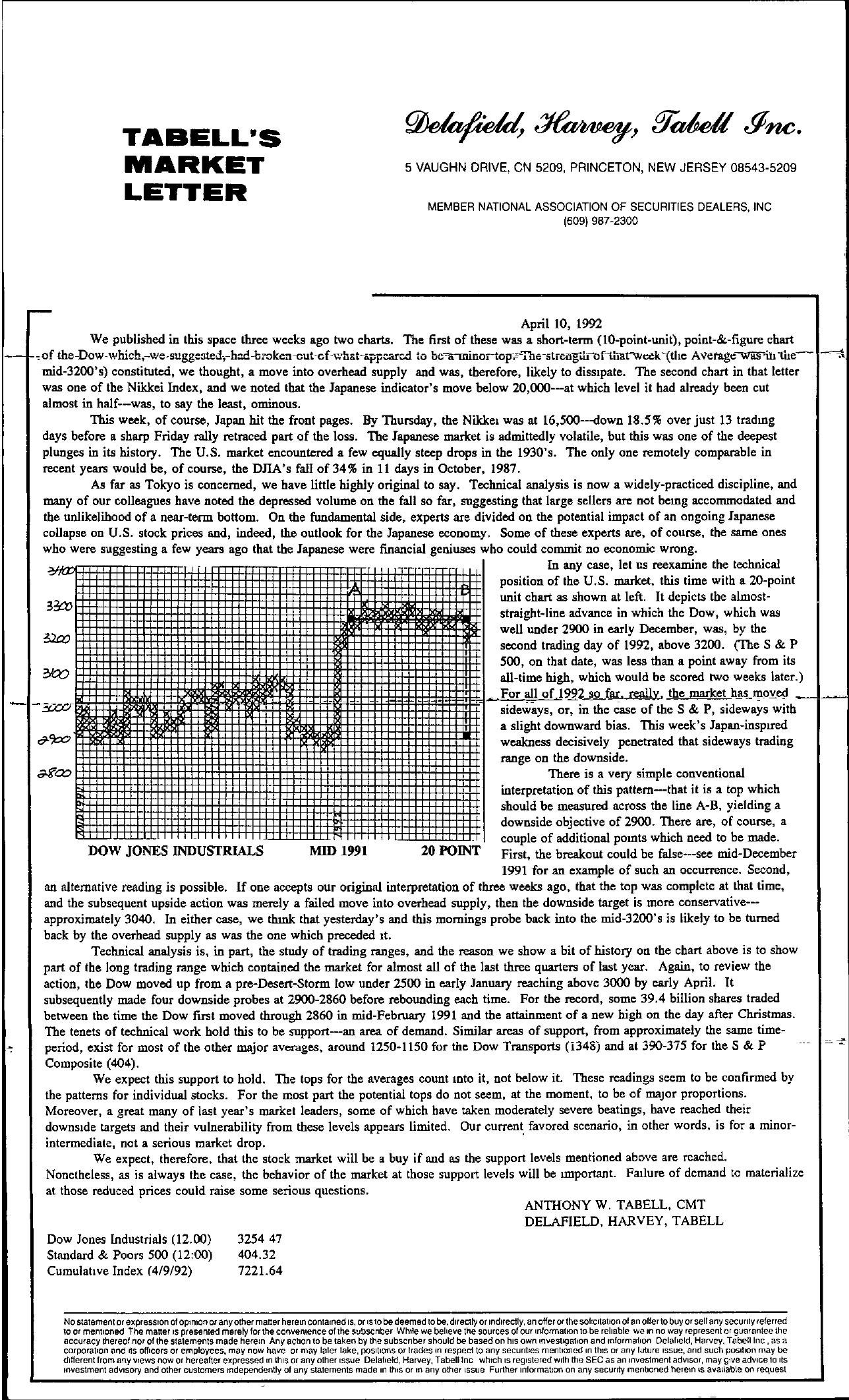 Tabell's Market Letter - April 10, 1992