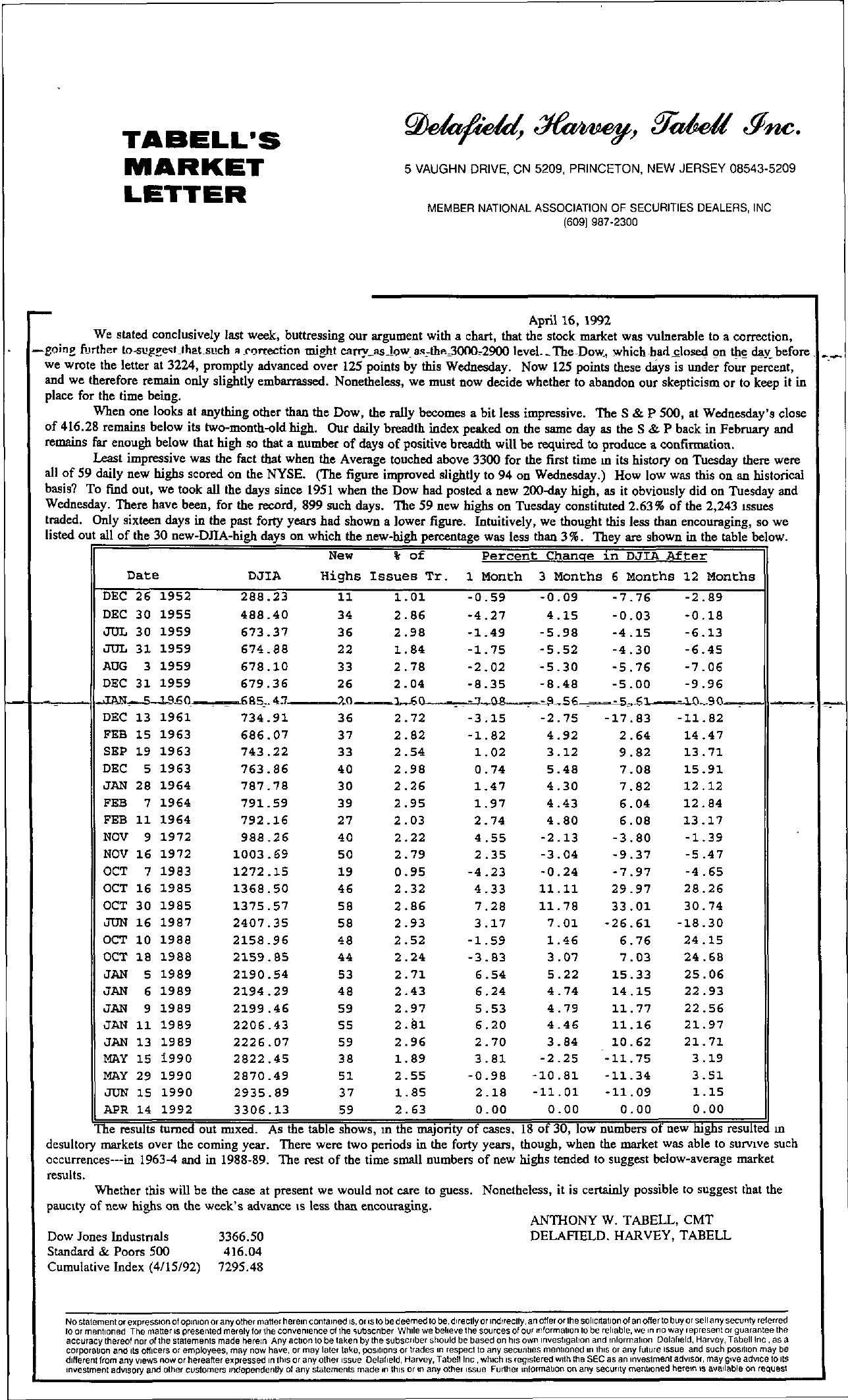 Tabell's Market Letter - April 16, 1992