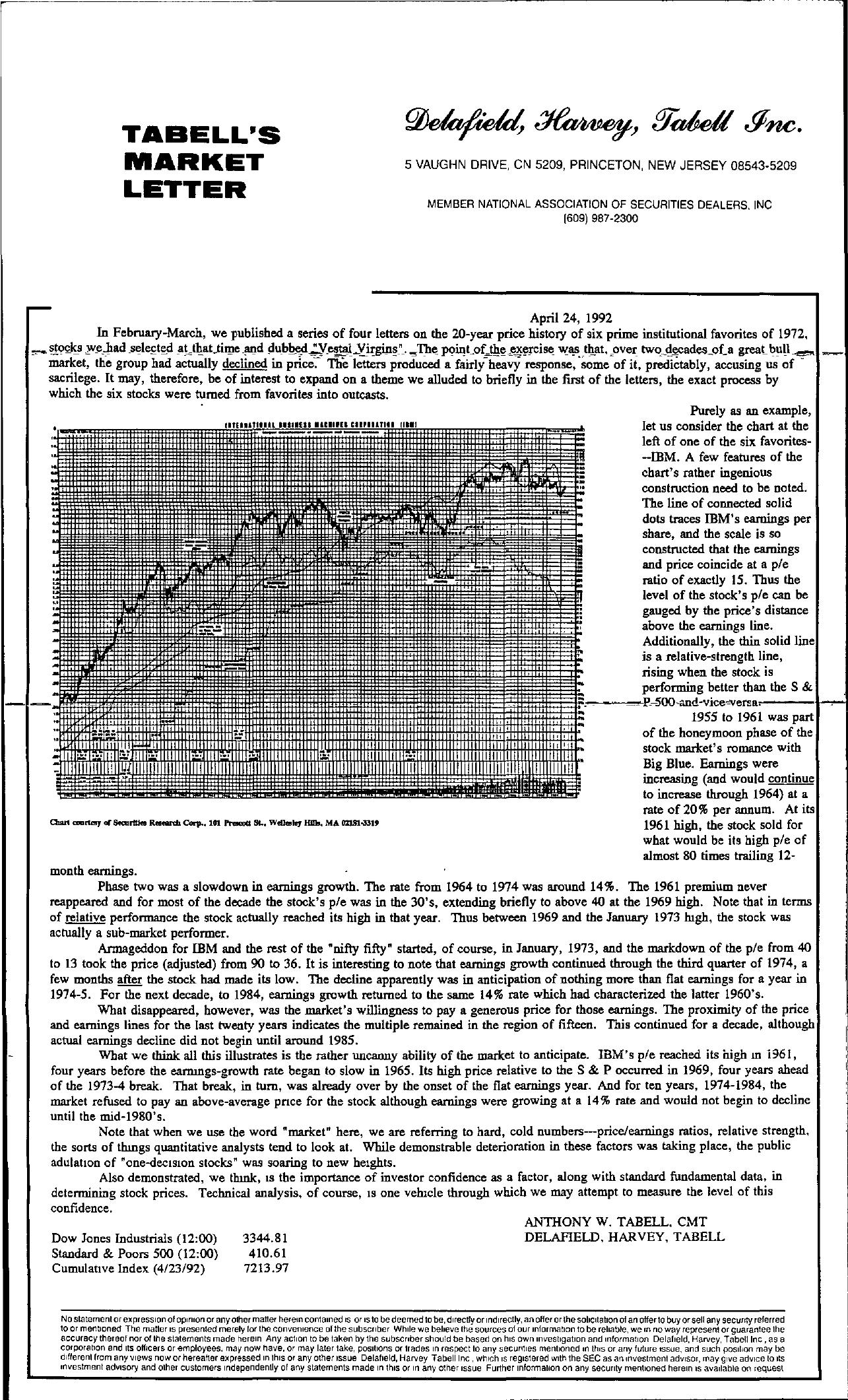 Tabell's Market Letter - April 24, 1992