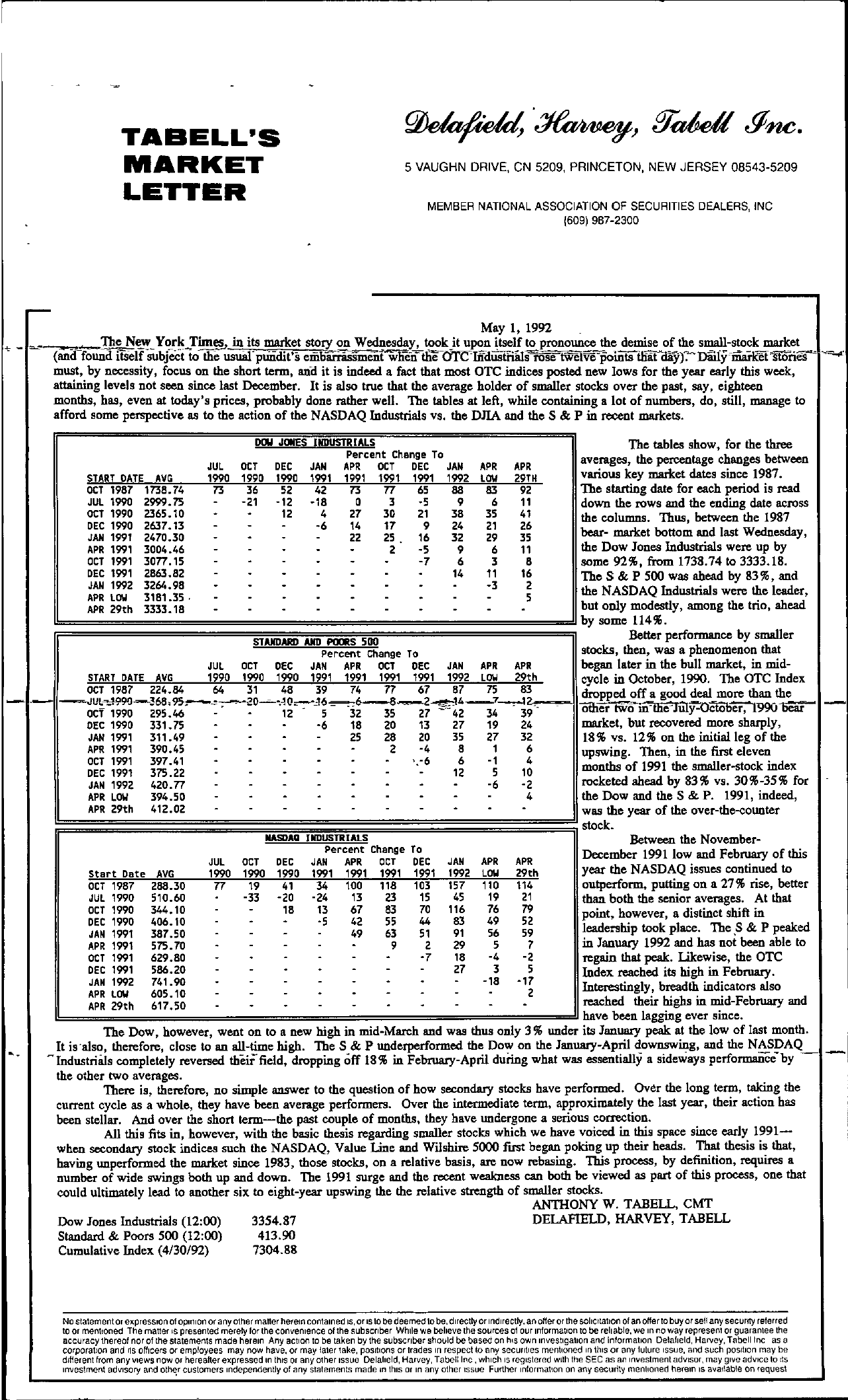 Tabell's Market Letter - May 01, 1992