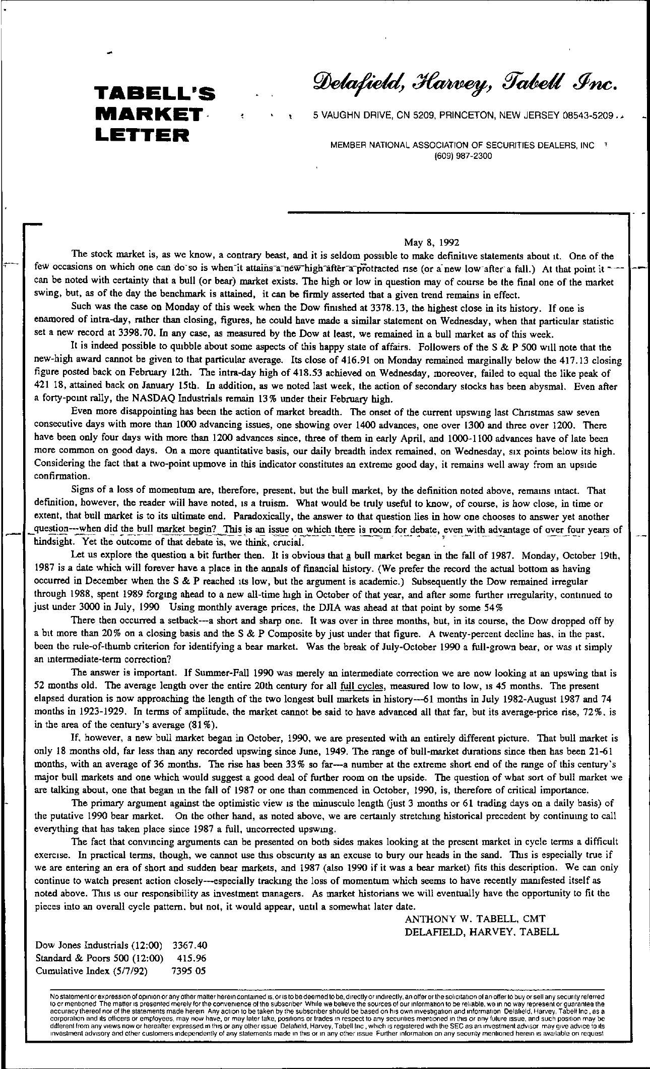 Tabell's Market Letter - May 08, 1992