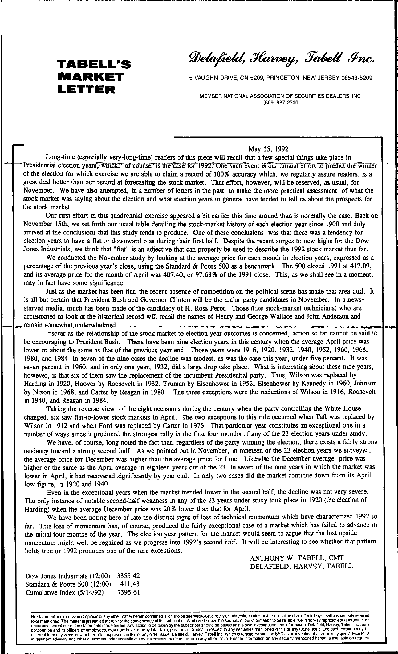 Tabell's Market Letter - May 15, 1992