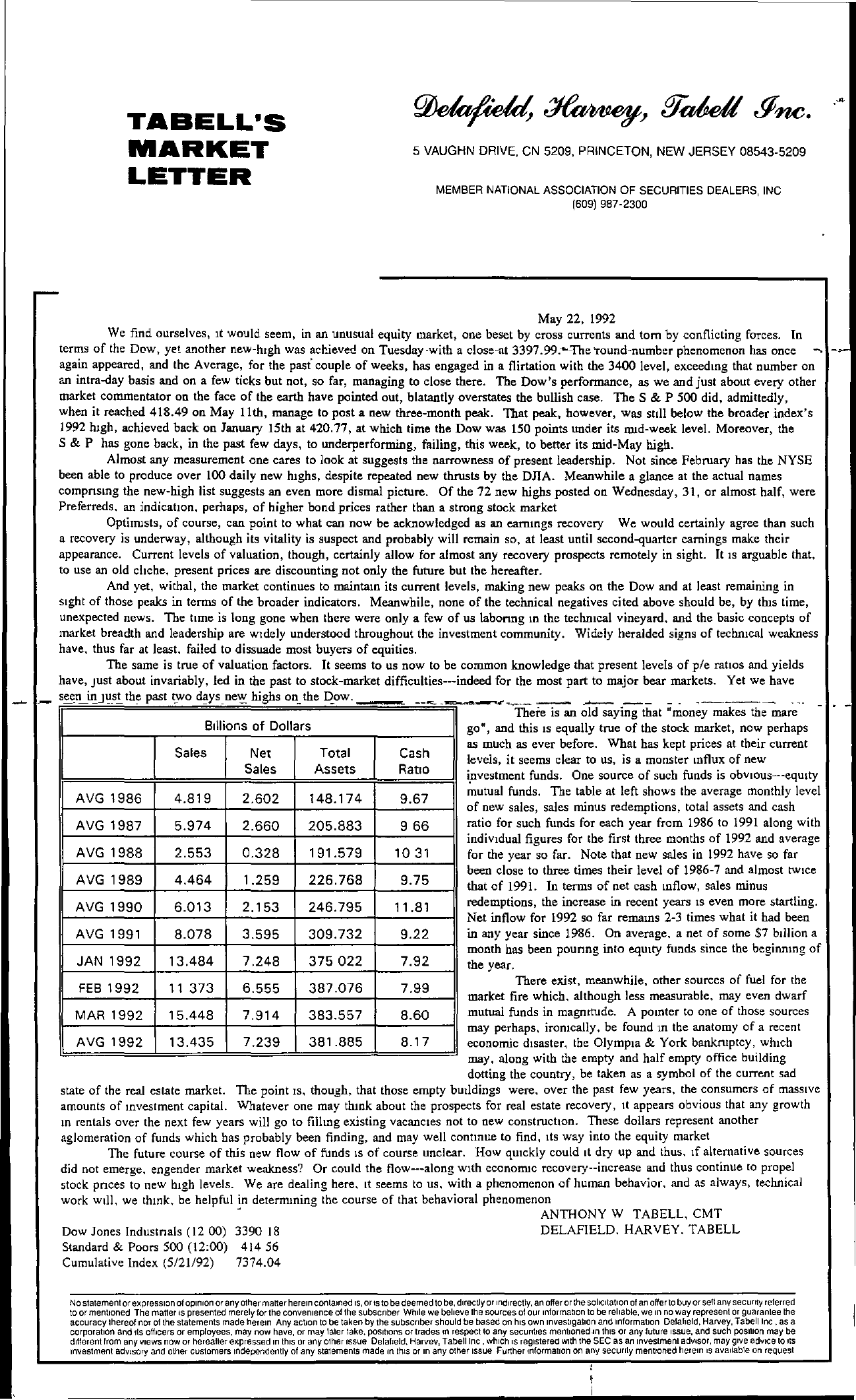 Tabell's Market Letter - May 22, 1992