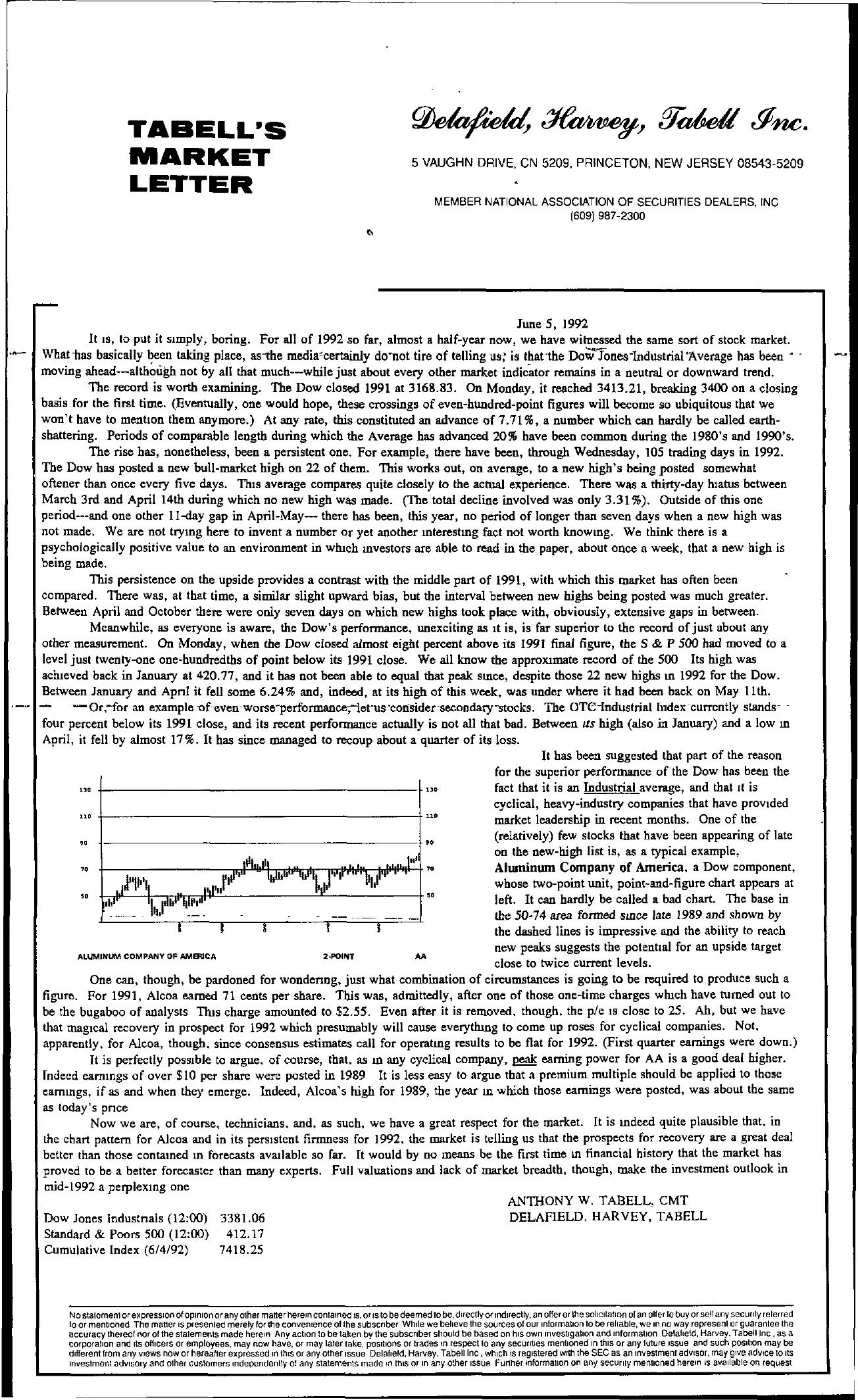 Tabell's Market Letter - June 05, 1992