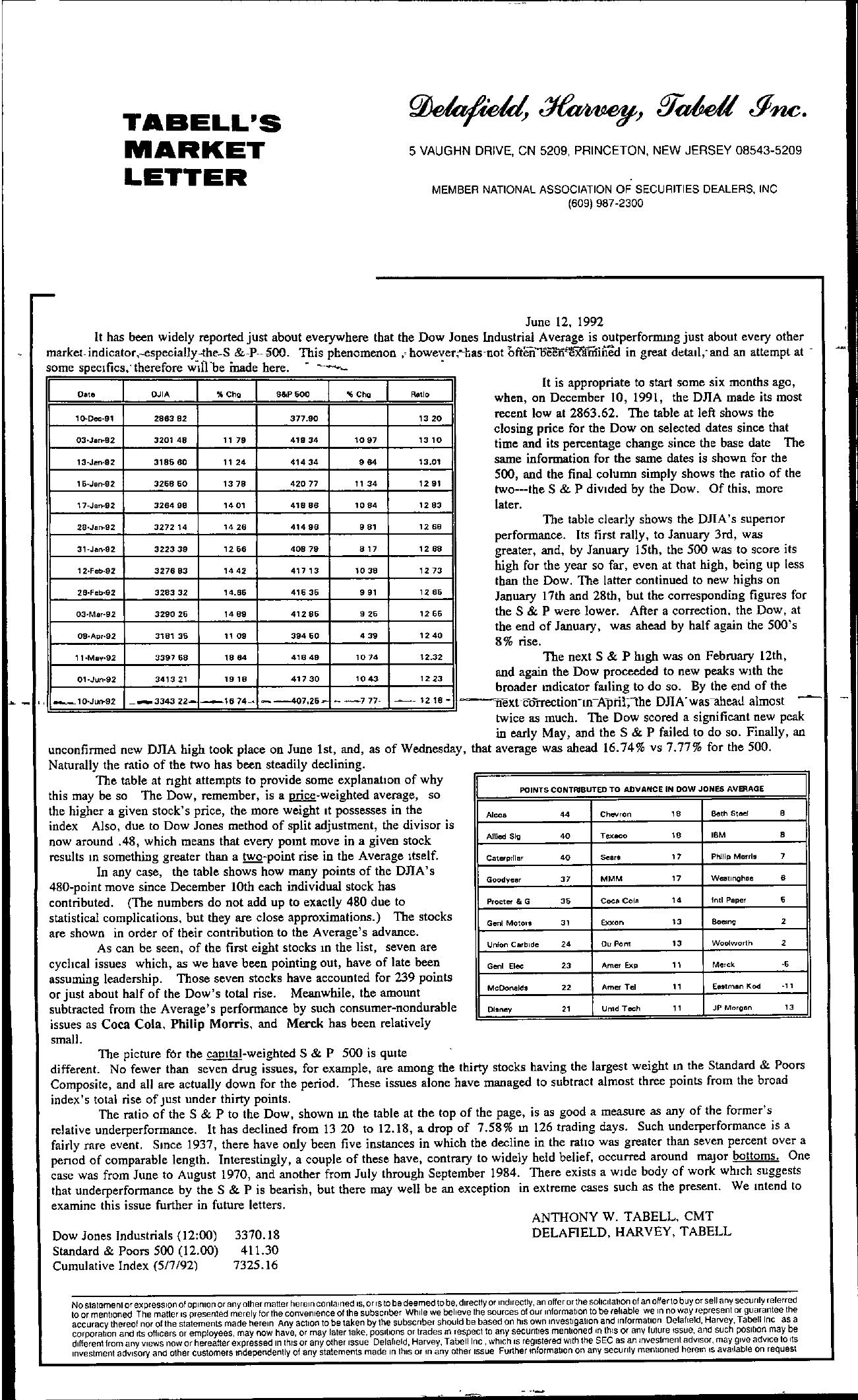 Tabell's Market Letter - June 12, 1992