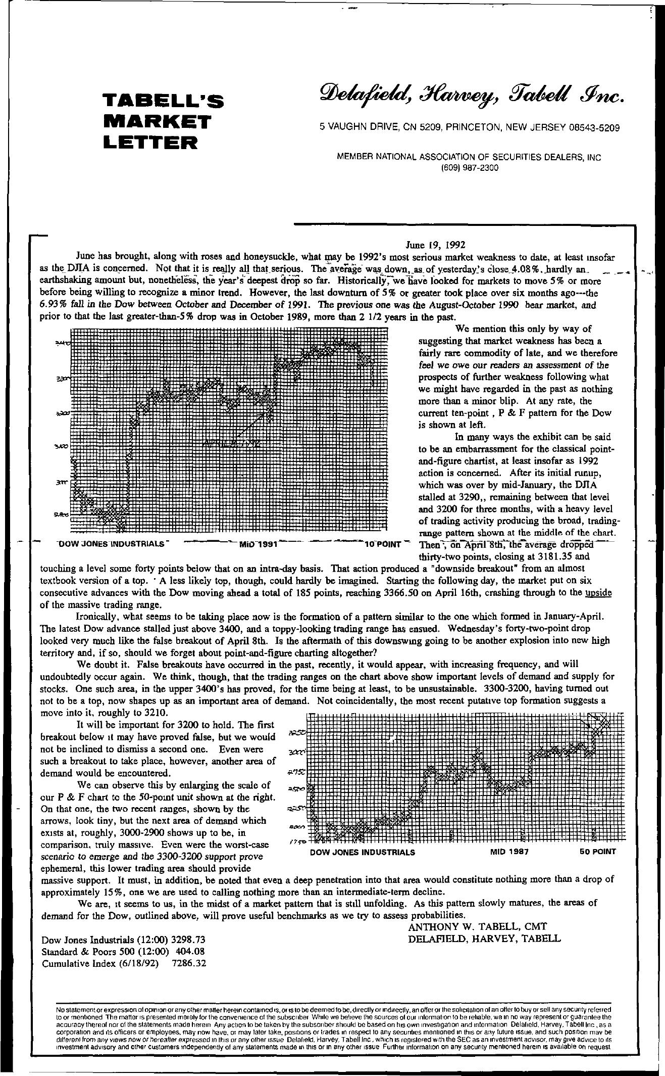 Tabell's Market Letter - June 19, 1992