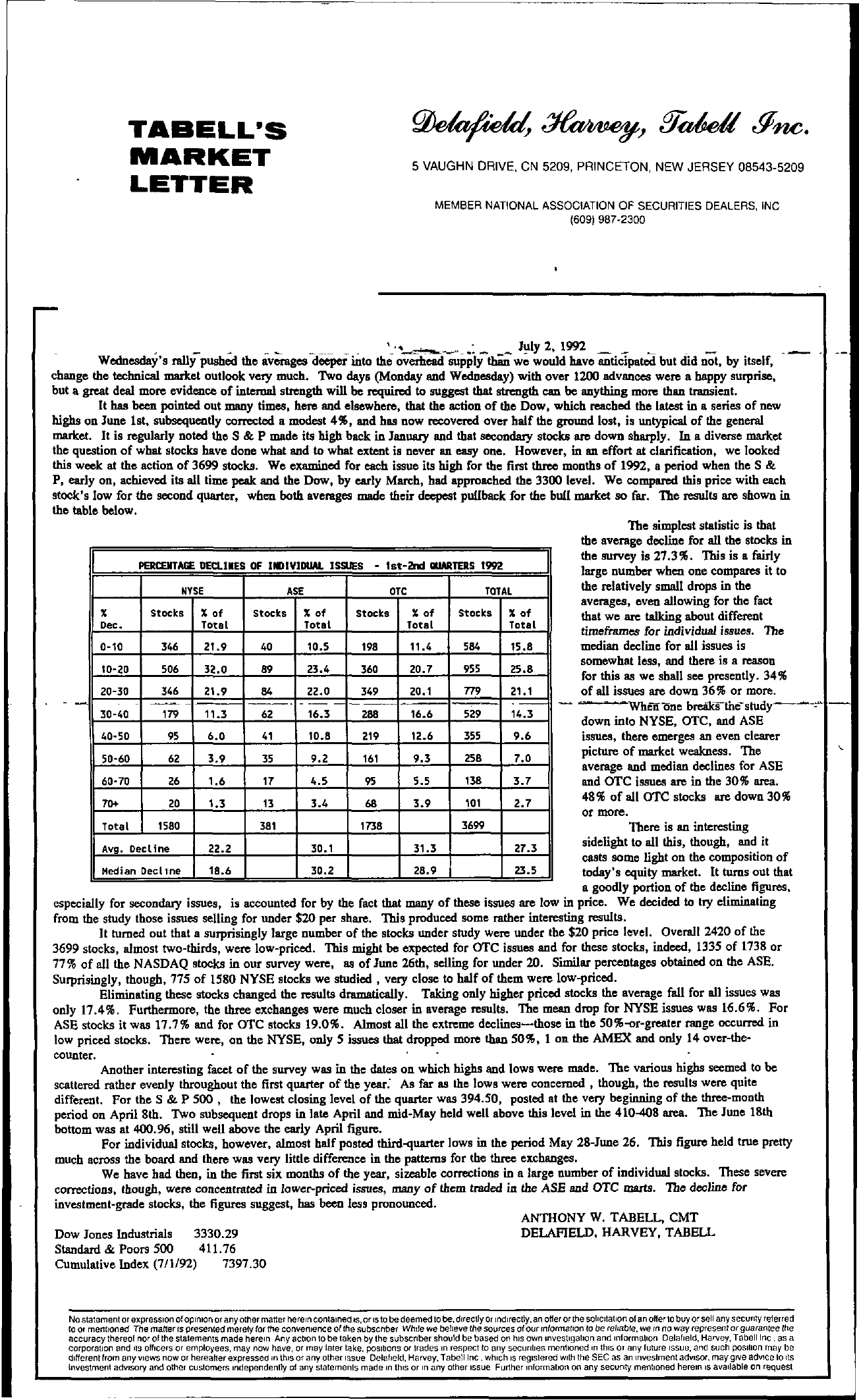 Tabell's Market Letter - July 02, 1992