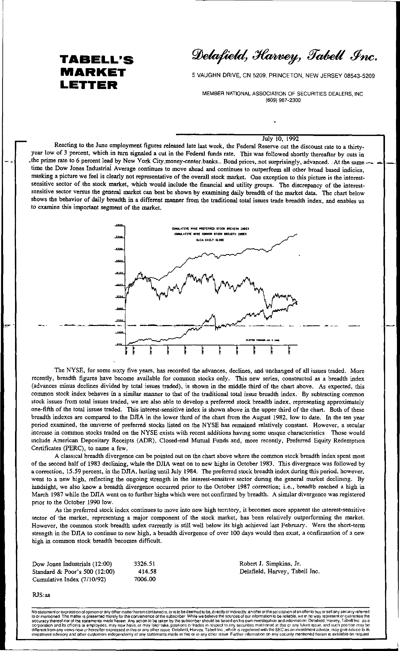 Tabell's Market Letter - July 10, 1992