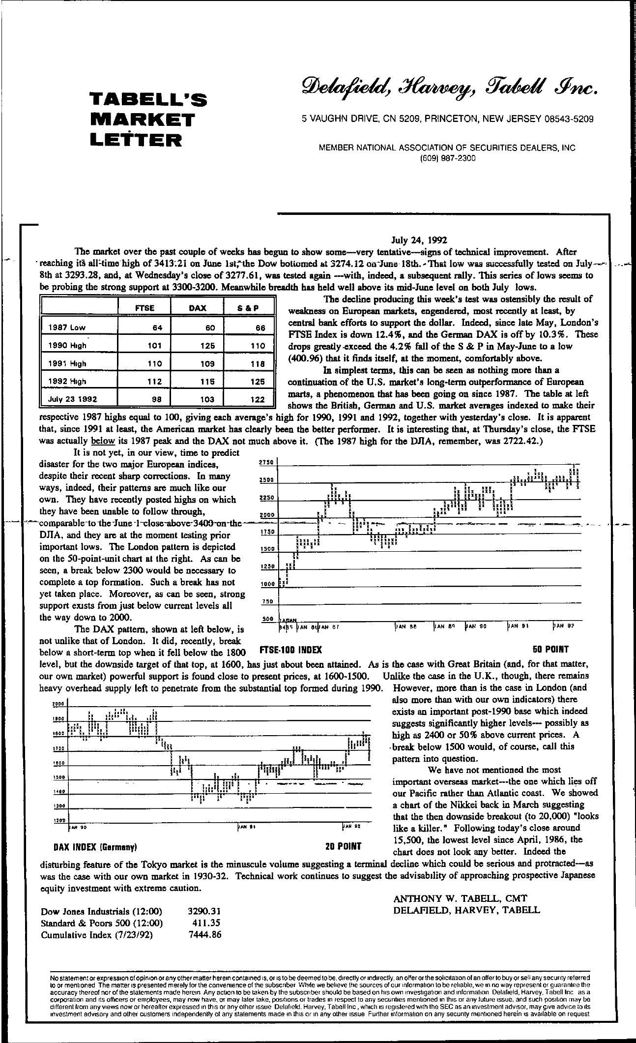 Tabell's Market Letter - July 24, 1992