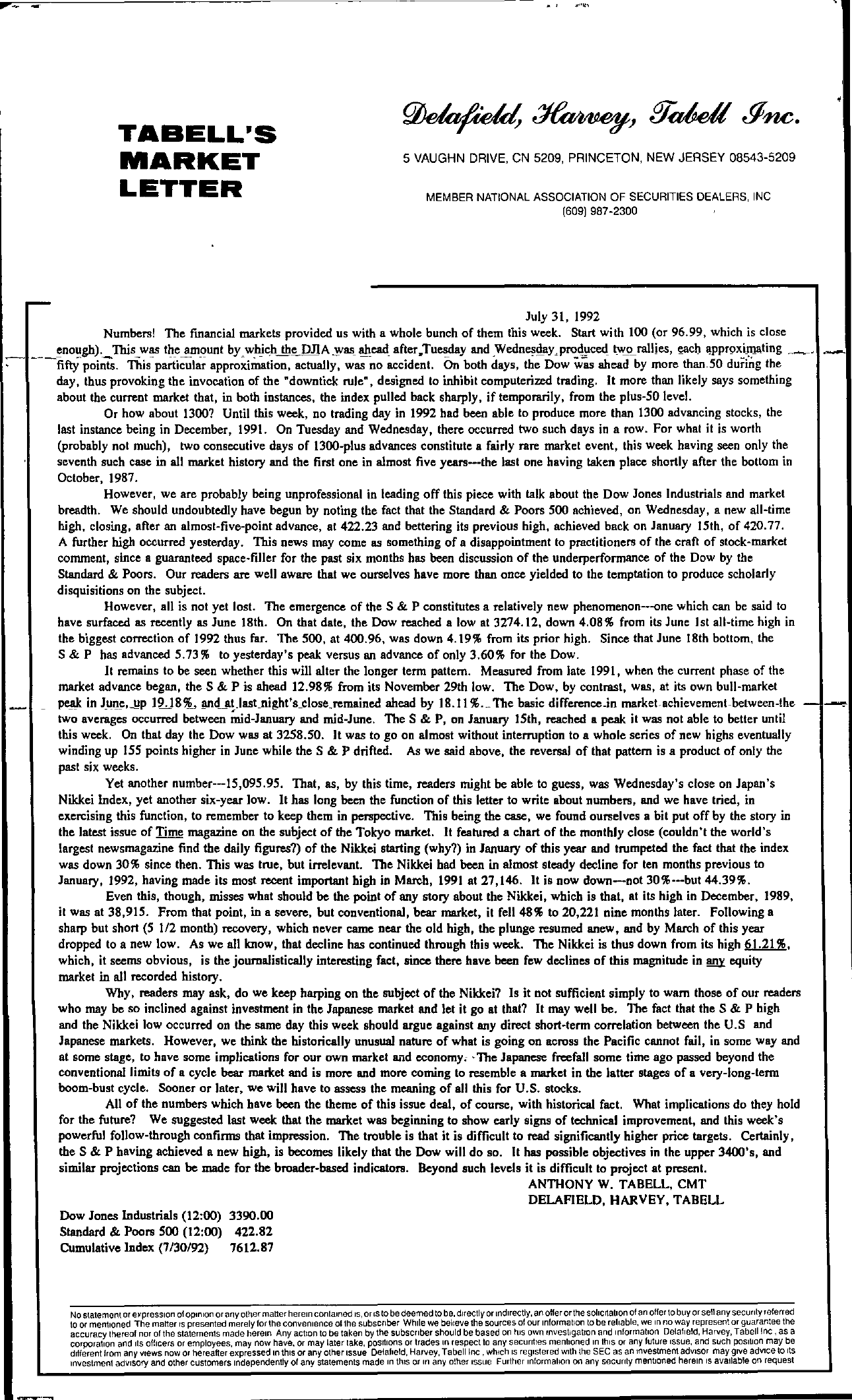 Tabell's Market Letter - July 31, 1992