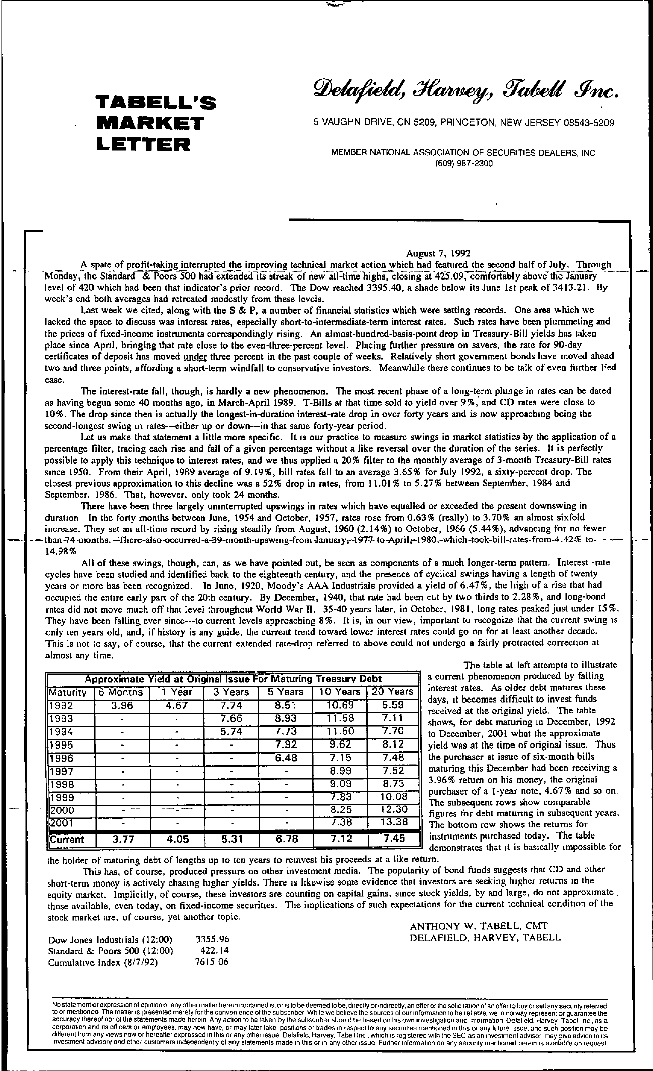 Tabell's Market Letter - August 07, 1992