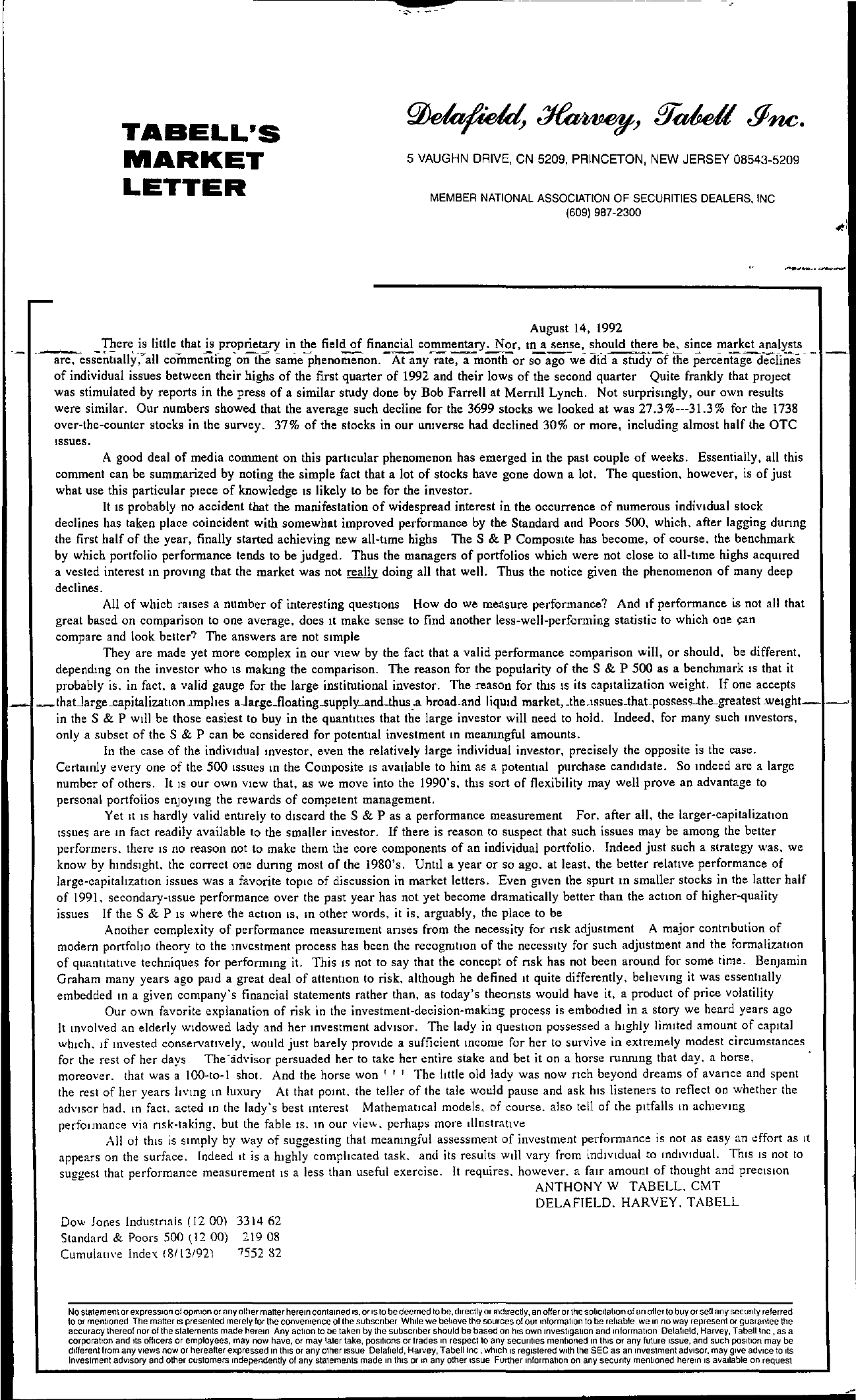 Tabell's Market Letter - August 14, 1992