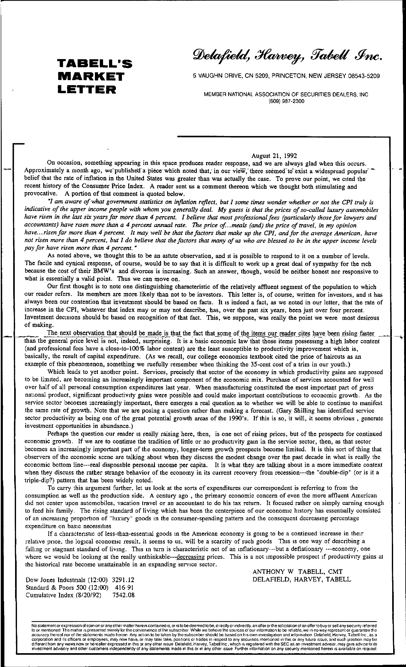 Tabell's Market Letter - August 21, 1992
