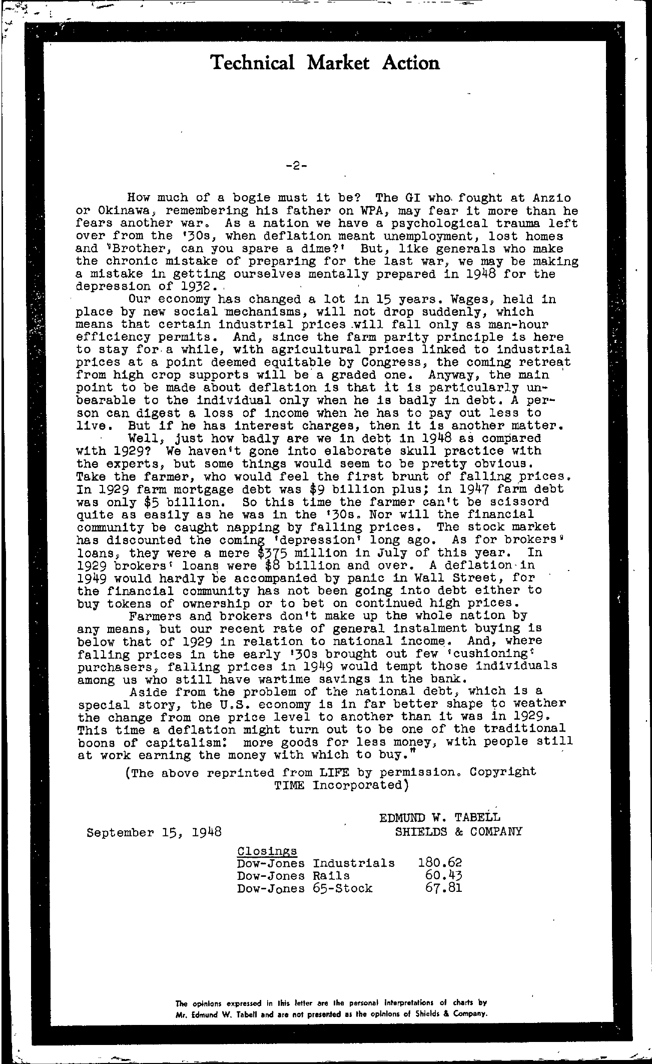Tabell's Market Letter - September 15, 1948 page 2