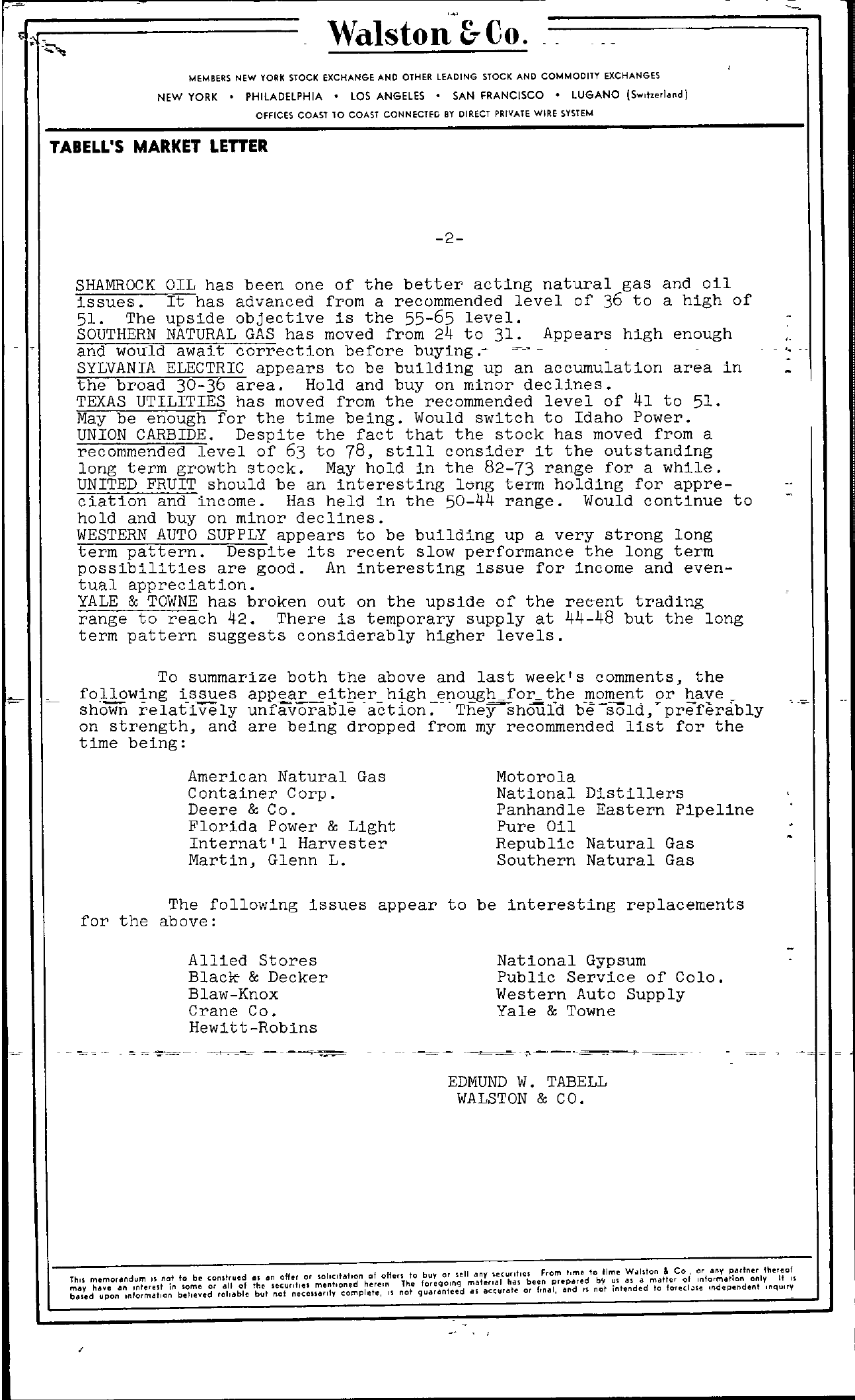 Tabell's Market Letter - April 09, 1954 page 2