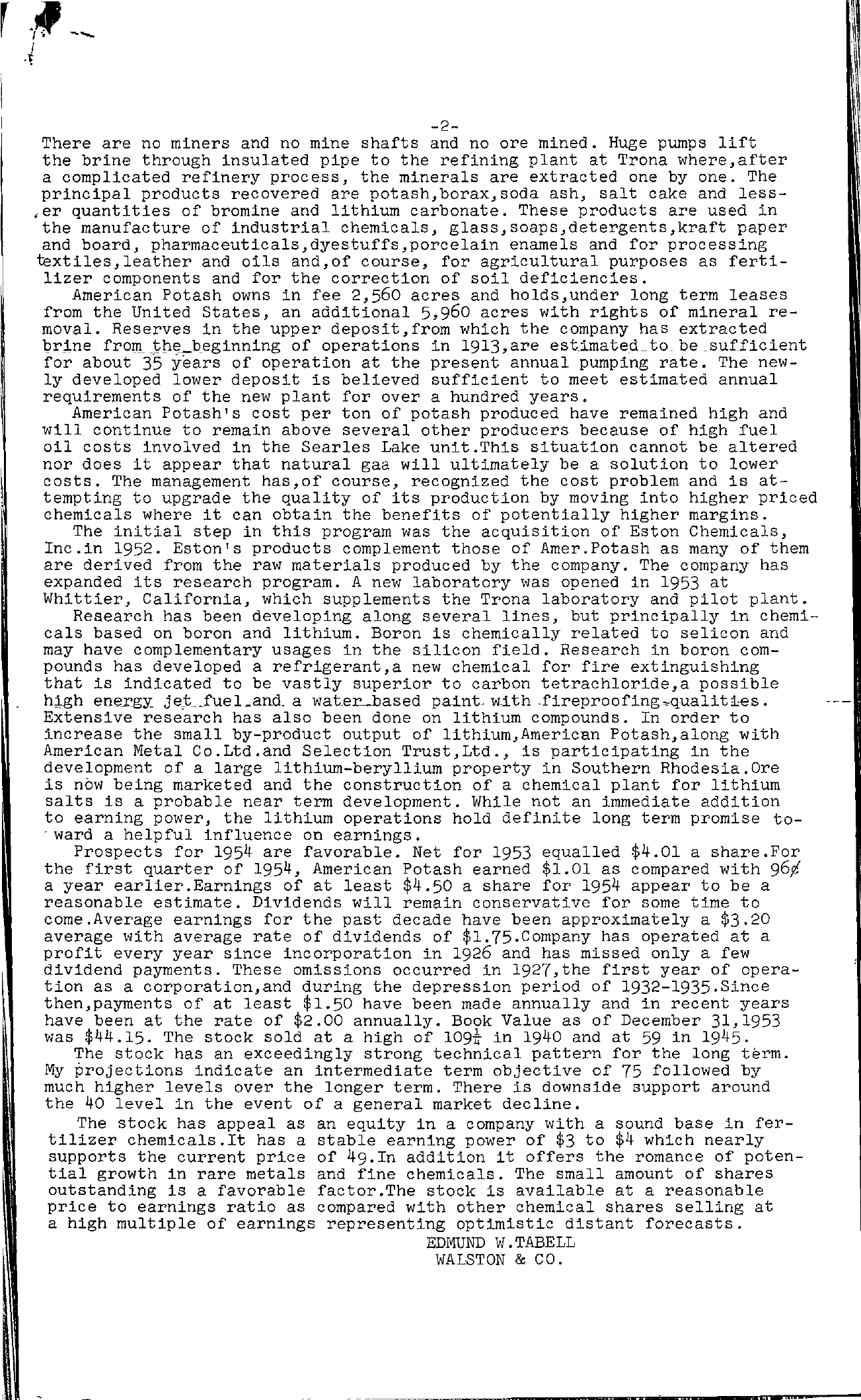 Tabell's Market Letter - June 25, 1954 page 2