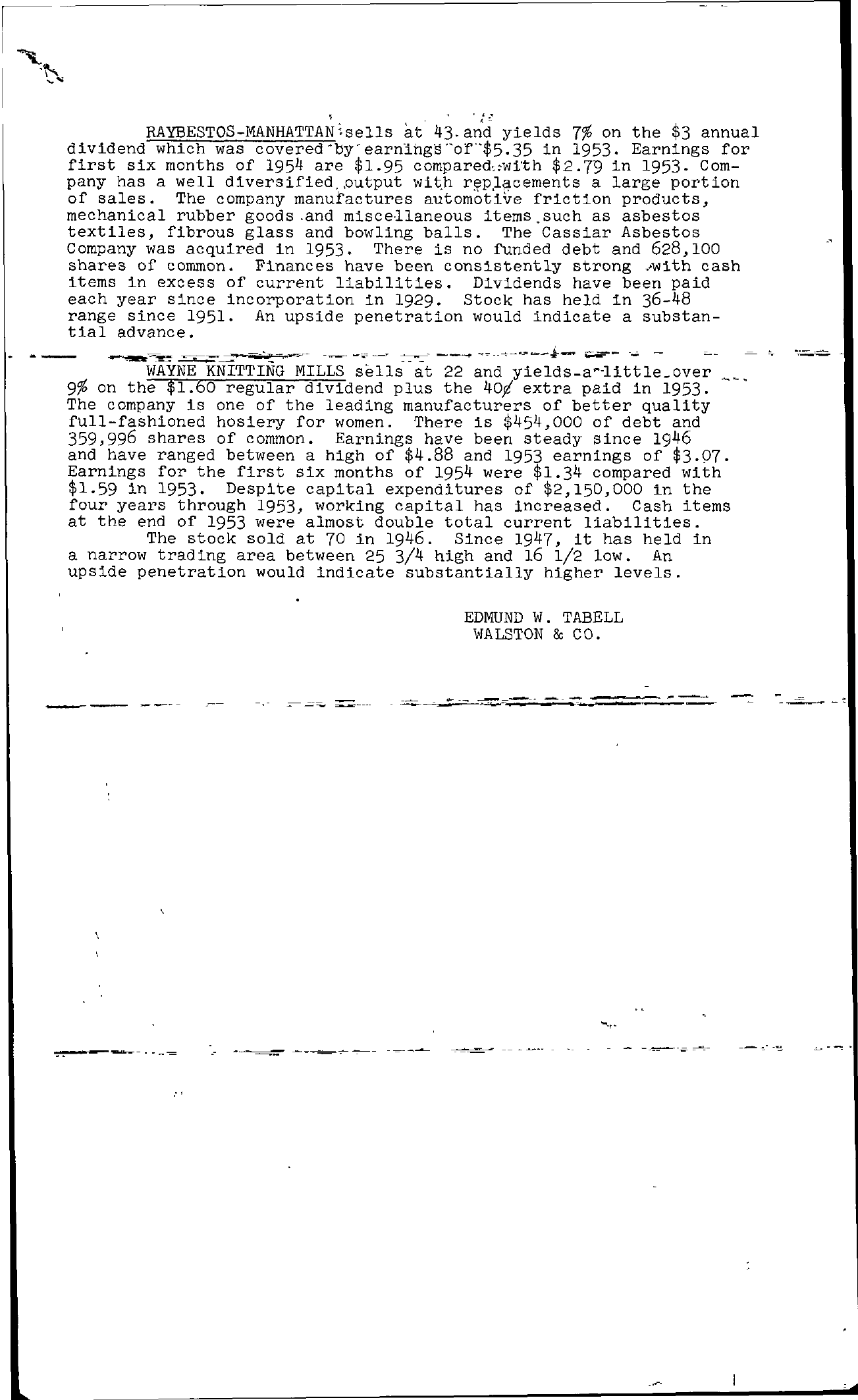 Tabell's Market Letter - August 20, 1954 page 2