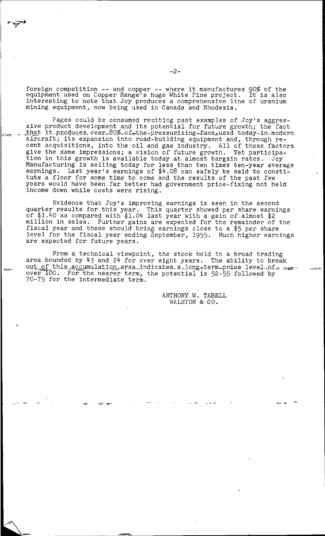 Tabell's Market Letter - June 10, 1955 page 2