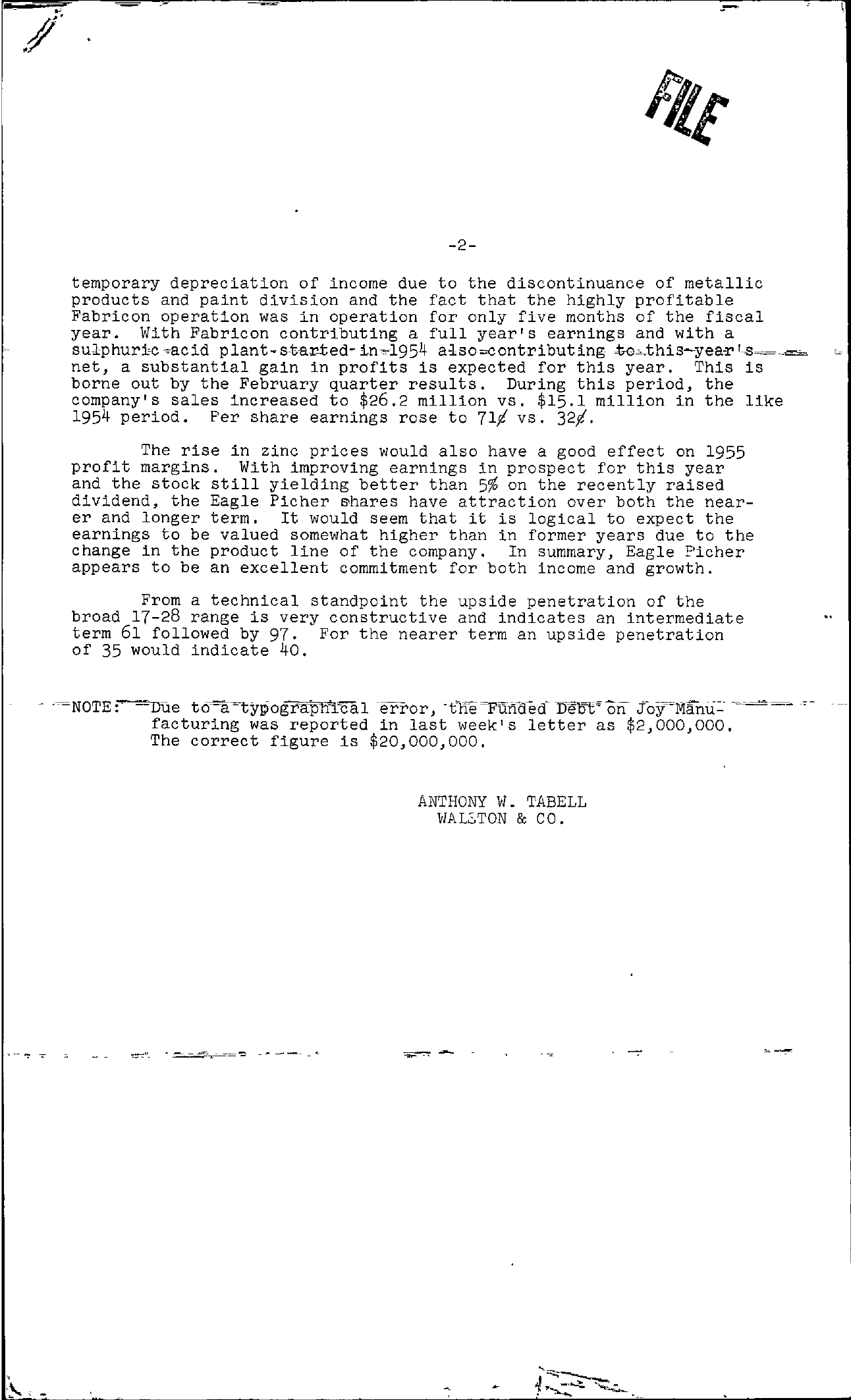 Tabell's Market Letter - June 17, 1955 page 2