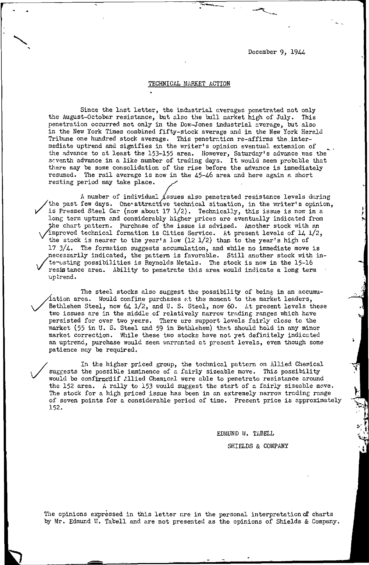 Tabell's Market Letter - December 09, 1944