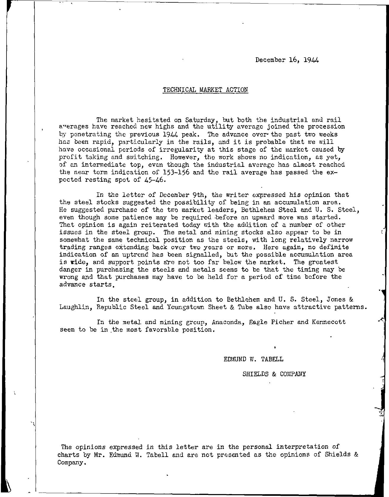 Tabell's Market Letter - December 16, 1944