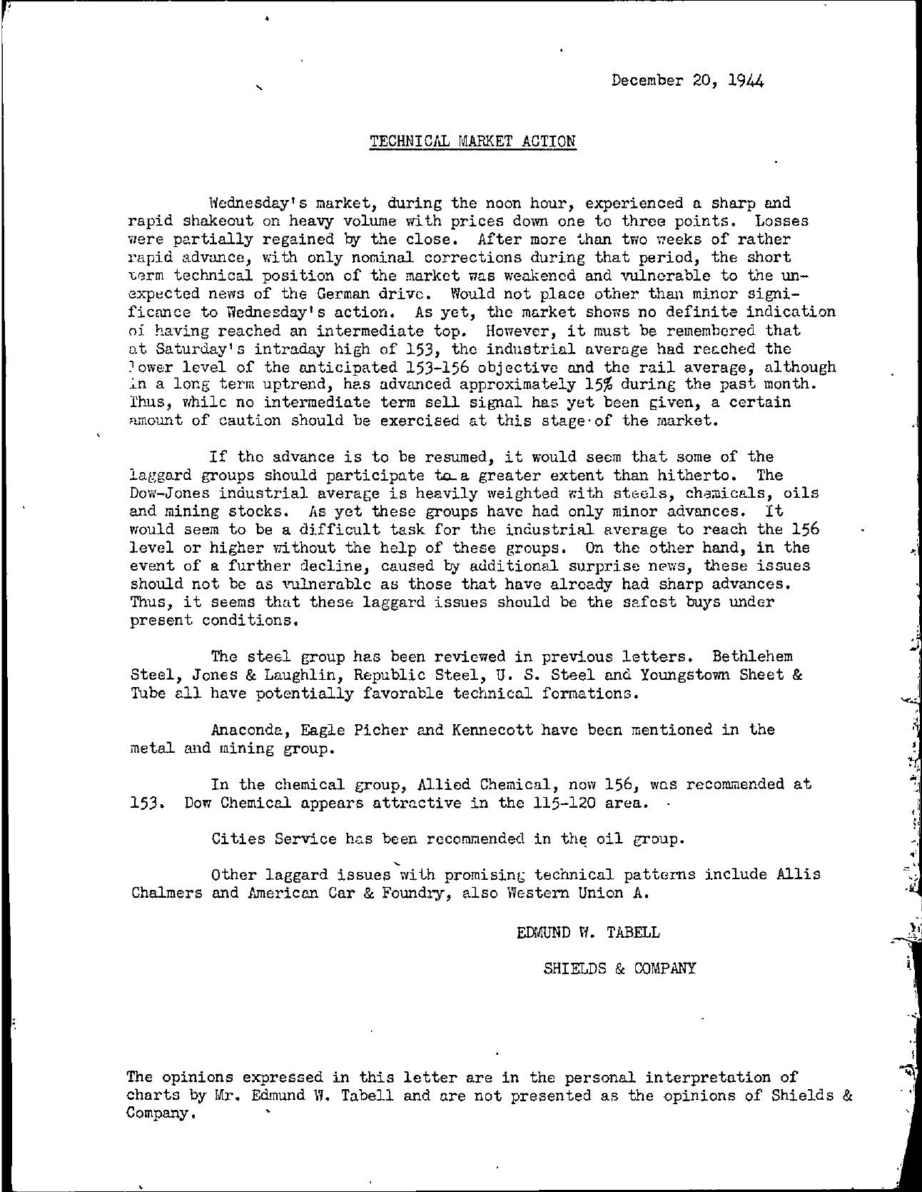 Tabell's Market Letter - December 20, 1944