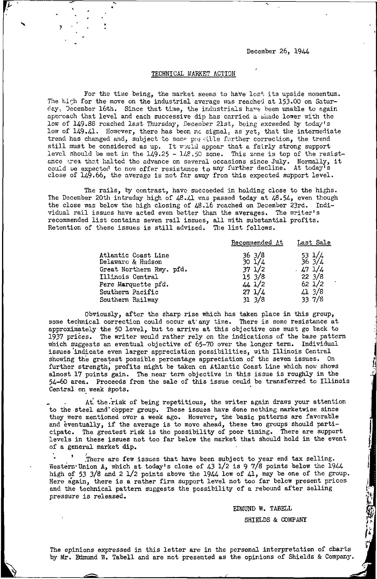 Tabell's Market Letter - December 26, 1944