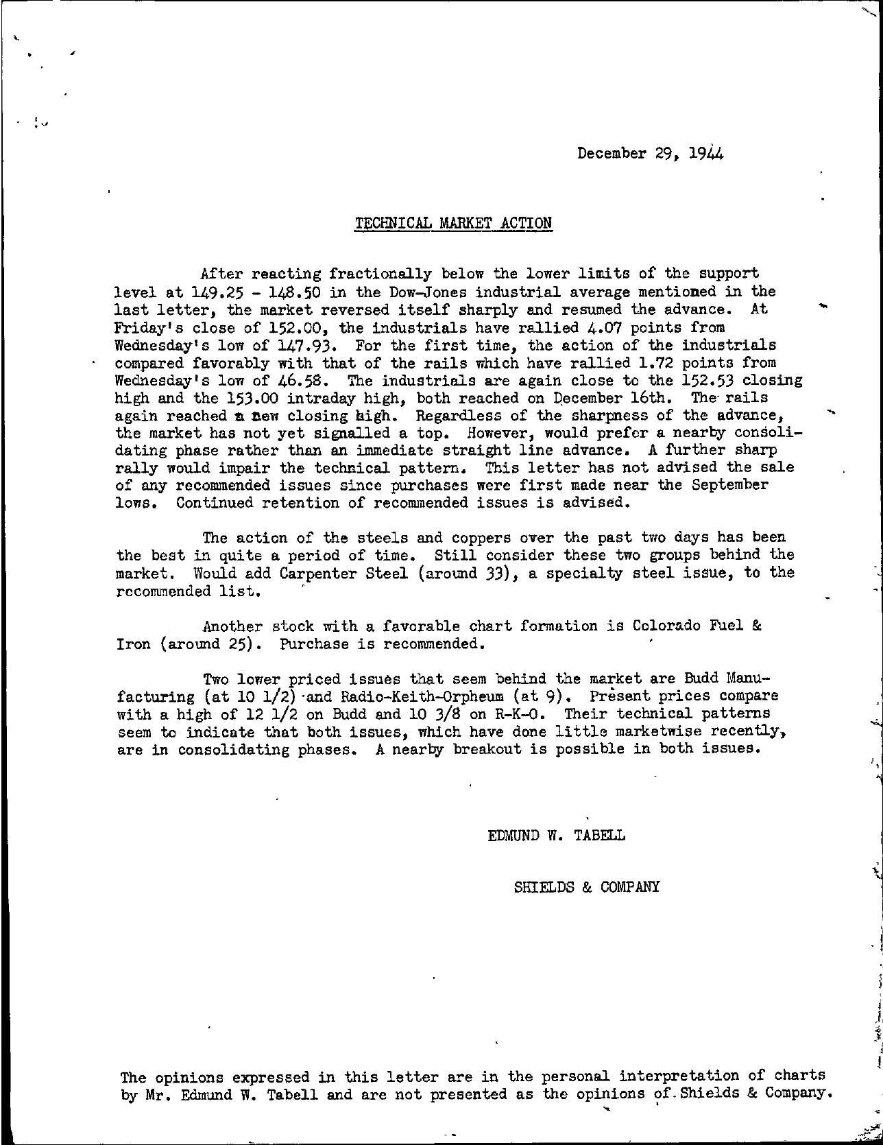 Tabell's Market Letter - December 29, 1944