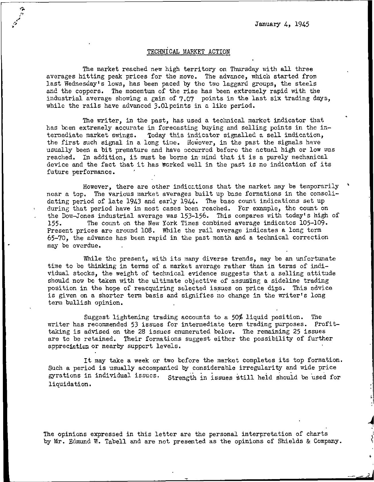 Tabell's Market Letter - January 04, 1945