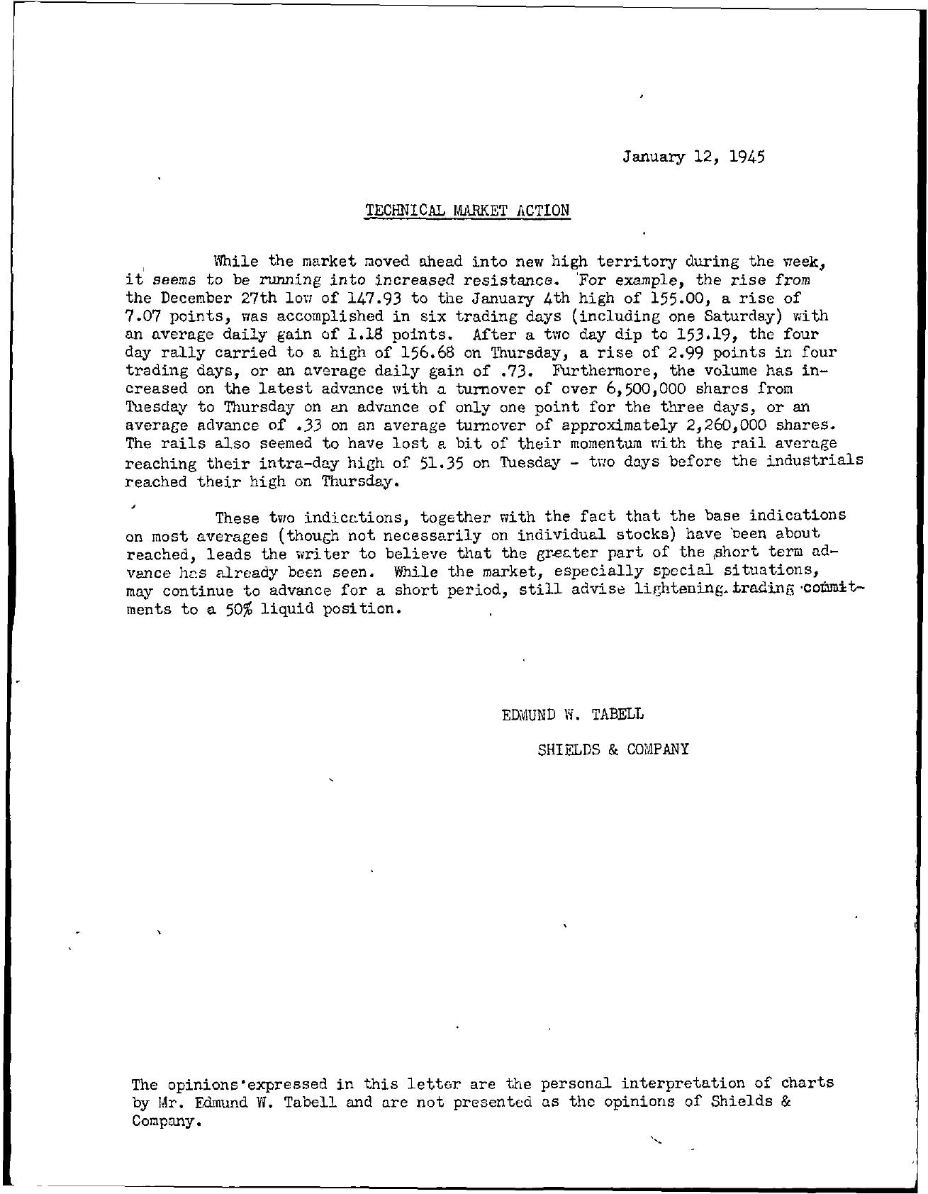 Tabell's Market Letter - January 12, 1945
