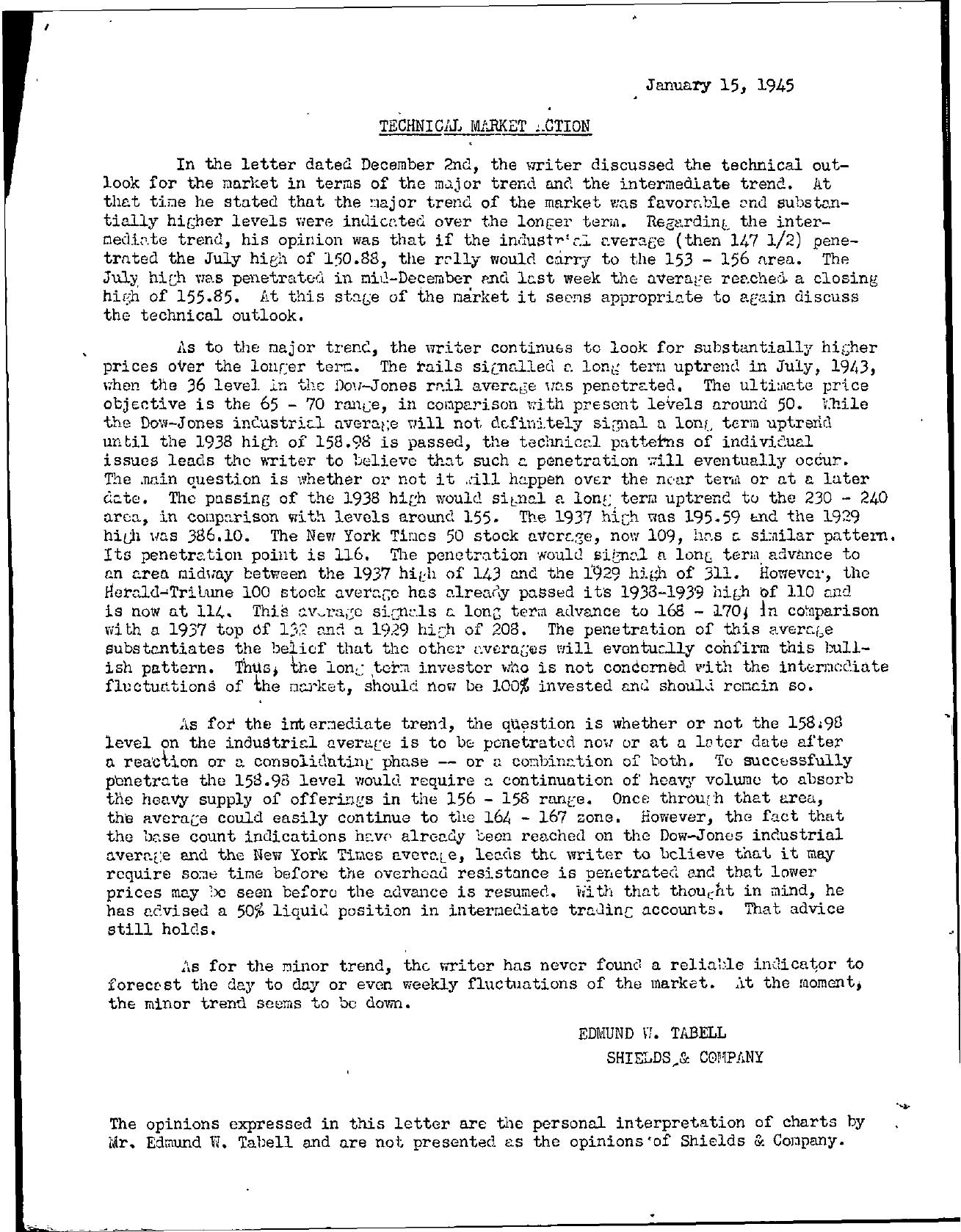 Tabell's Market Letter - January 15, 1945