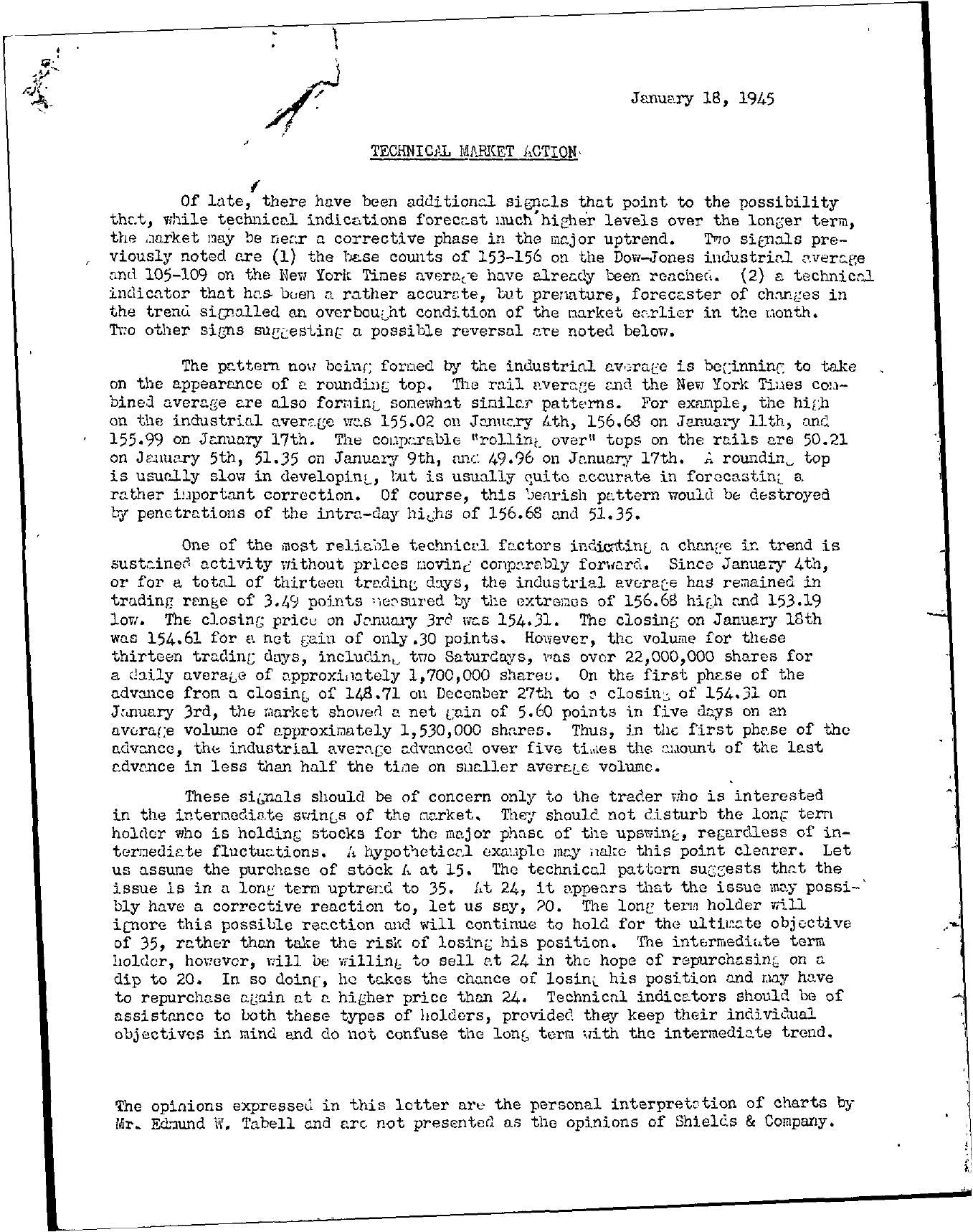 Tabell's Market Letter - January 18, 1945 page 1