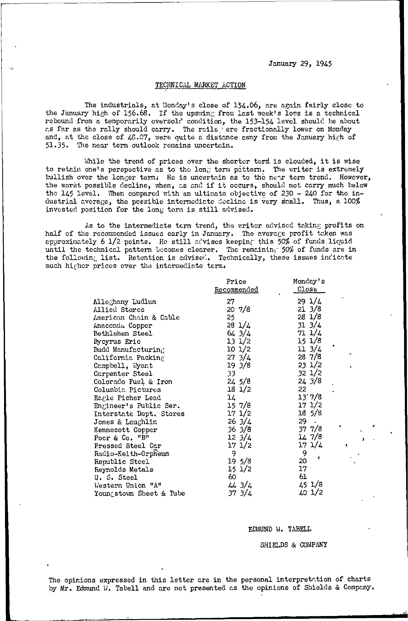 Tabell's Market Letter - January 29, 1945
