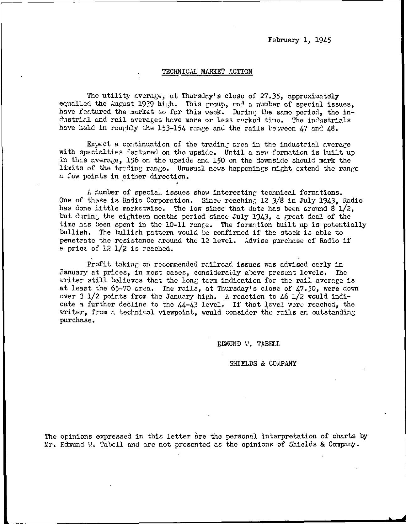 Tabell's Market Letter - February 01, 1945