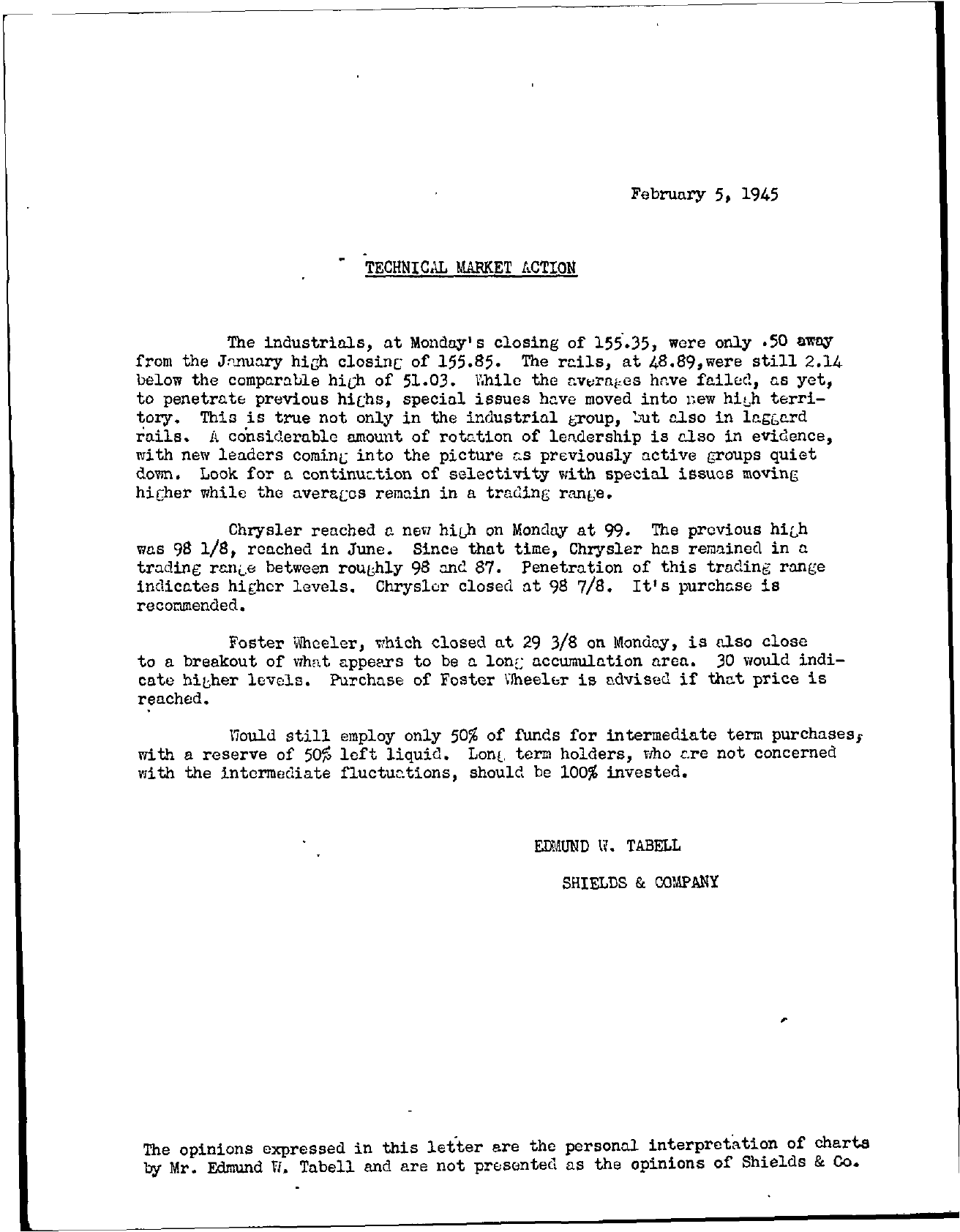 Tabell's Market Letter - February 05, 1945
