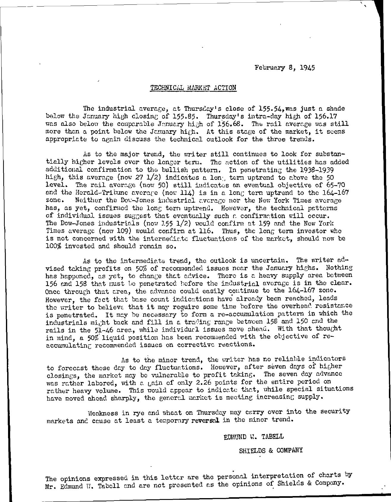 Tabell's Market Letter - February 08, 1945