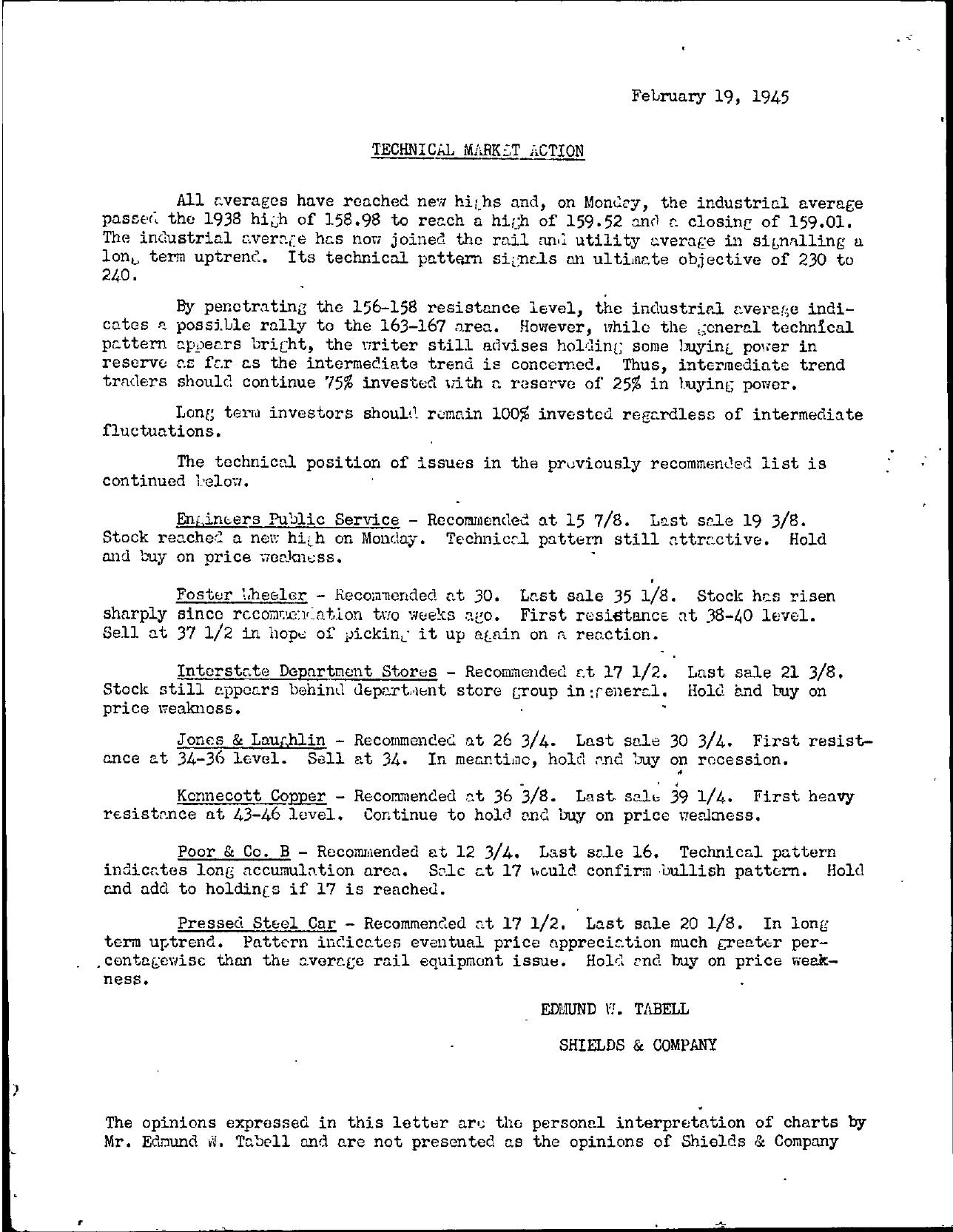 Tabell's Market Letter - February 19, 1945