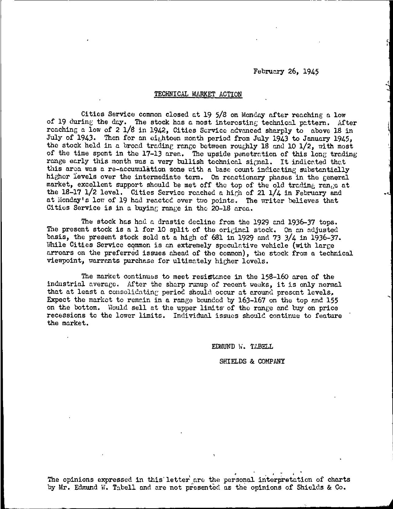 Tabell's Market Letter - February 26, 1945