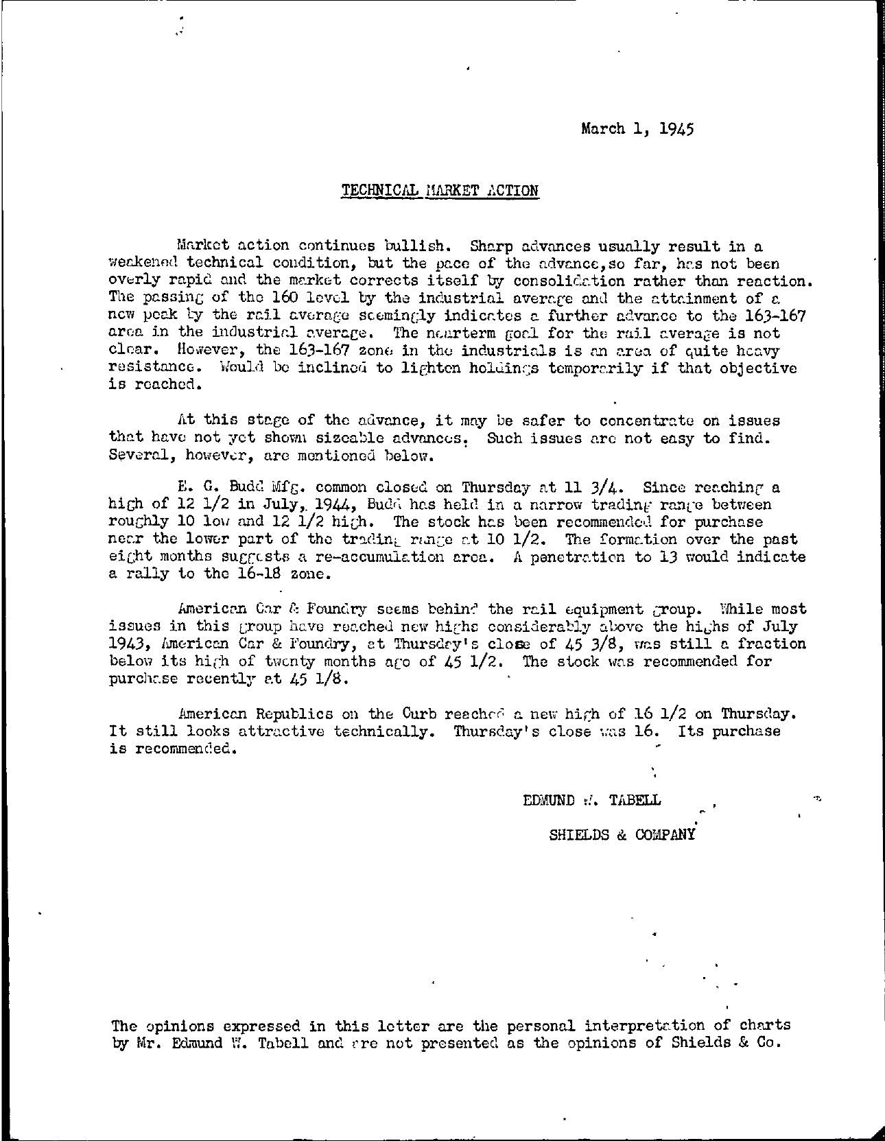 Tabell's Market Letter - March 01, 1945