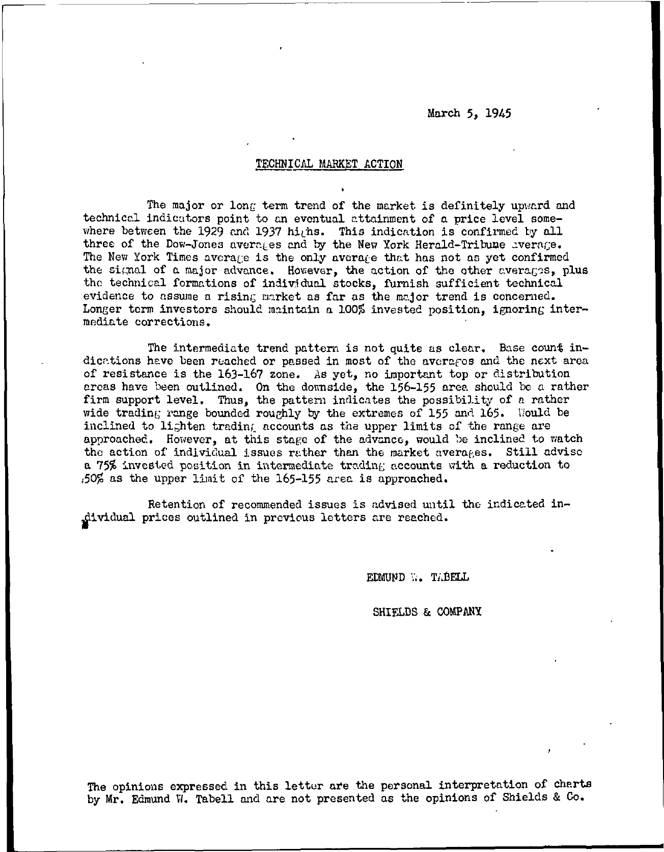 Tabell's Market Letter - March 05, 1945