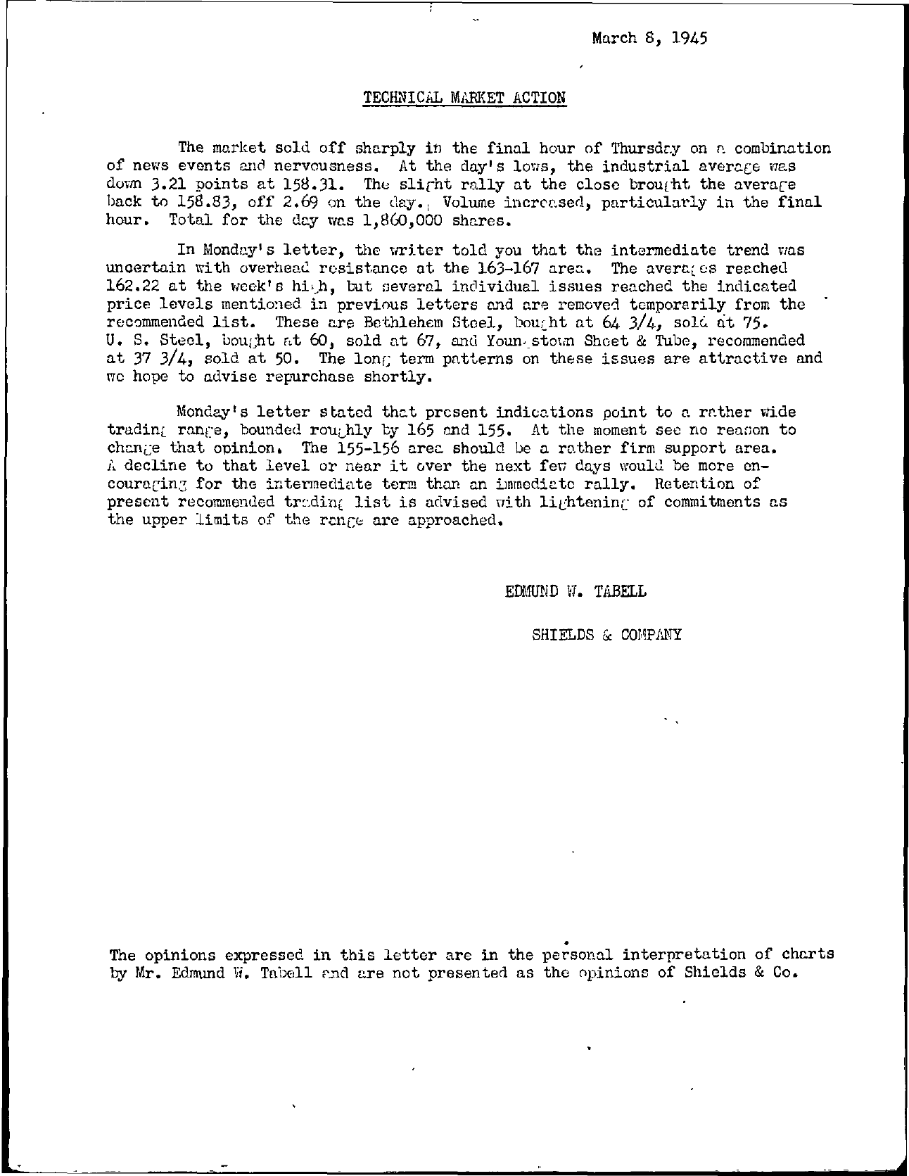 Tabell's Market Letter - March 08, 1945